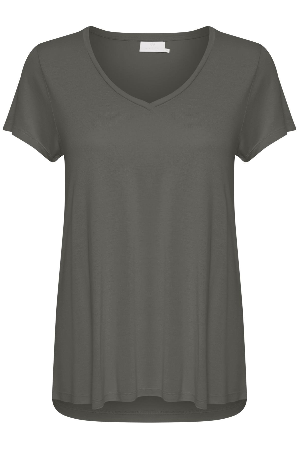 Donker grijsgemêleerd T-shirt korte mouw van Kaffe – Door Donker grijsgemêleerd T-shirt korte mouw van maat. XS-XXL hier