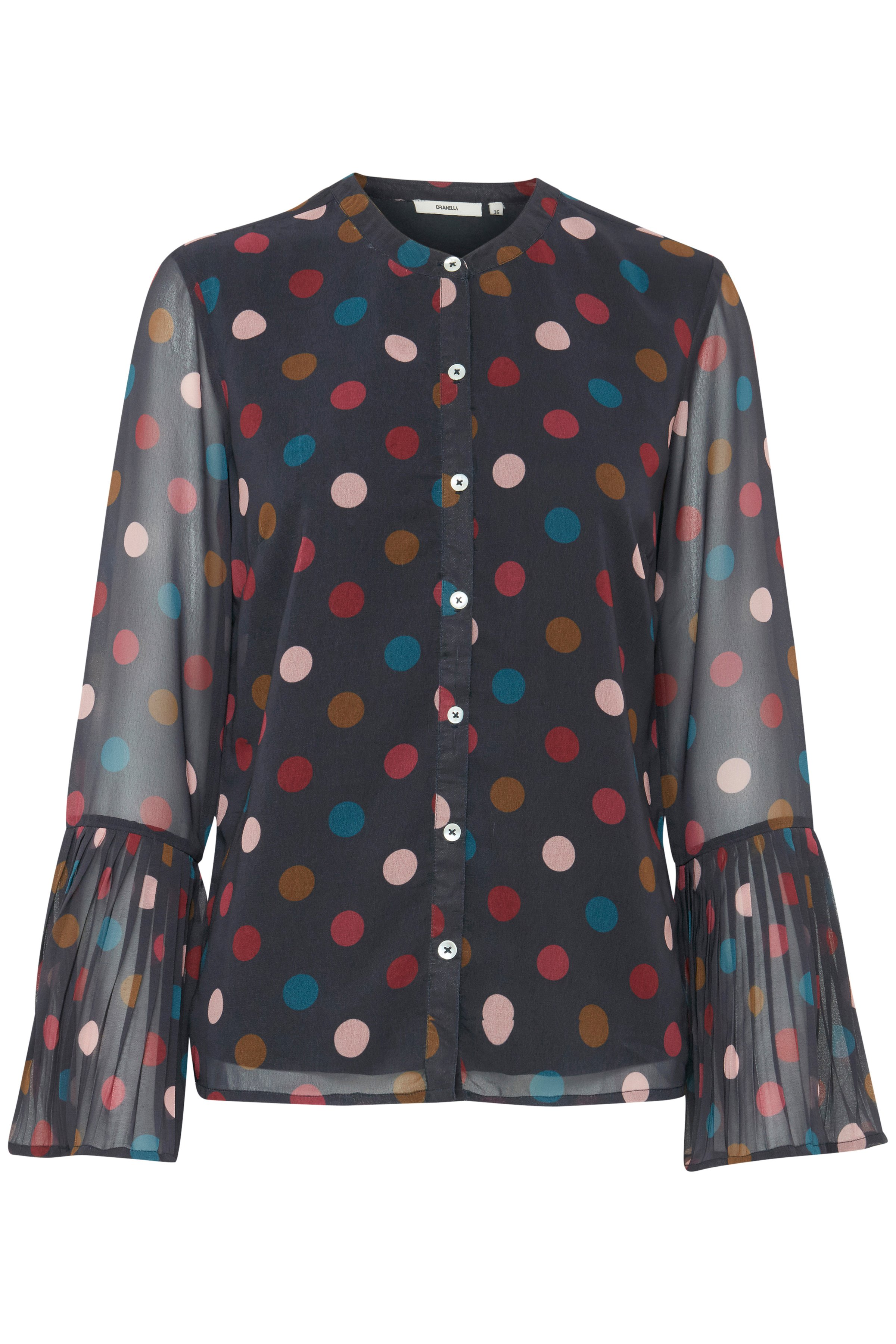 Dranella Dame Blouse lange mouw - Donkerblauw/rood