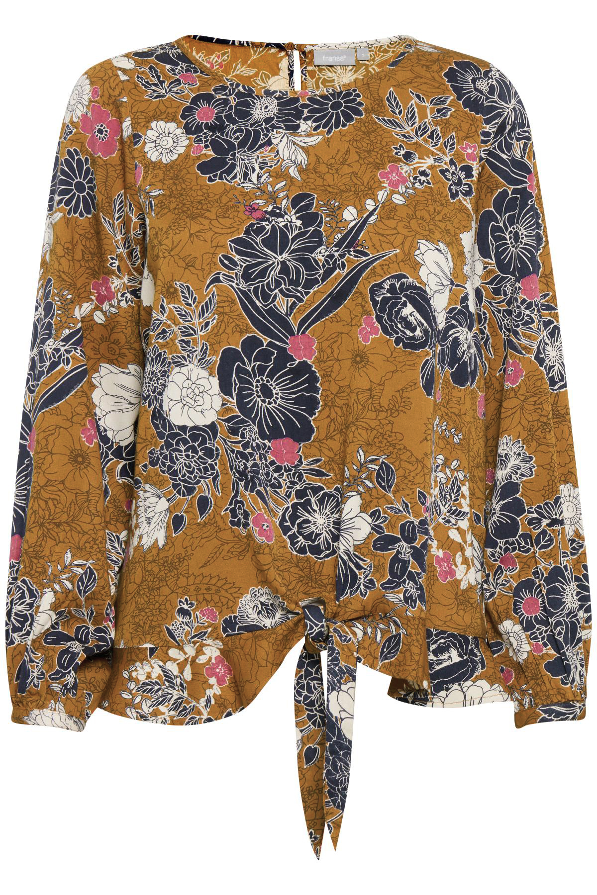 Fransa Dame Blouse met split in de nek, die dichtgaat met een kleine knoop. De blouse van FRANSA heeft een band en ruches aan de onderkant. All-over print. Geweven kwaliteit. Normale pasvorm. Combineer de blouse met een pantalon en pumps, zo kunt u direct