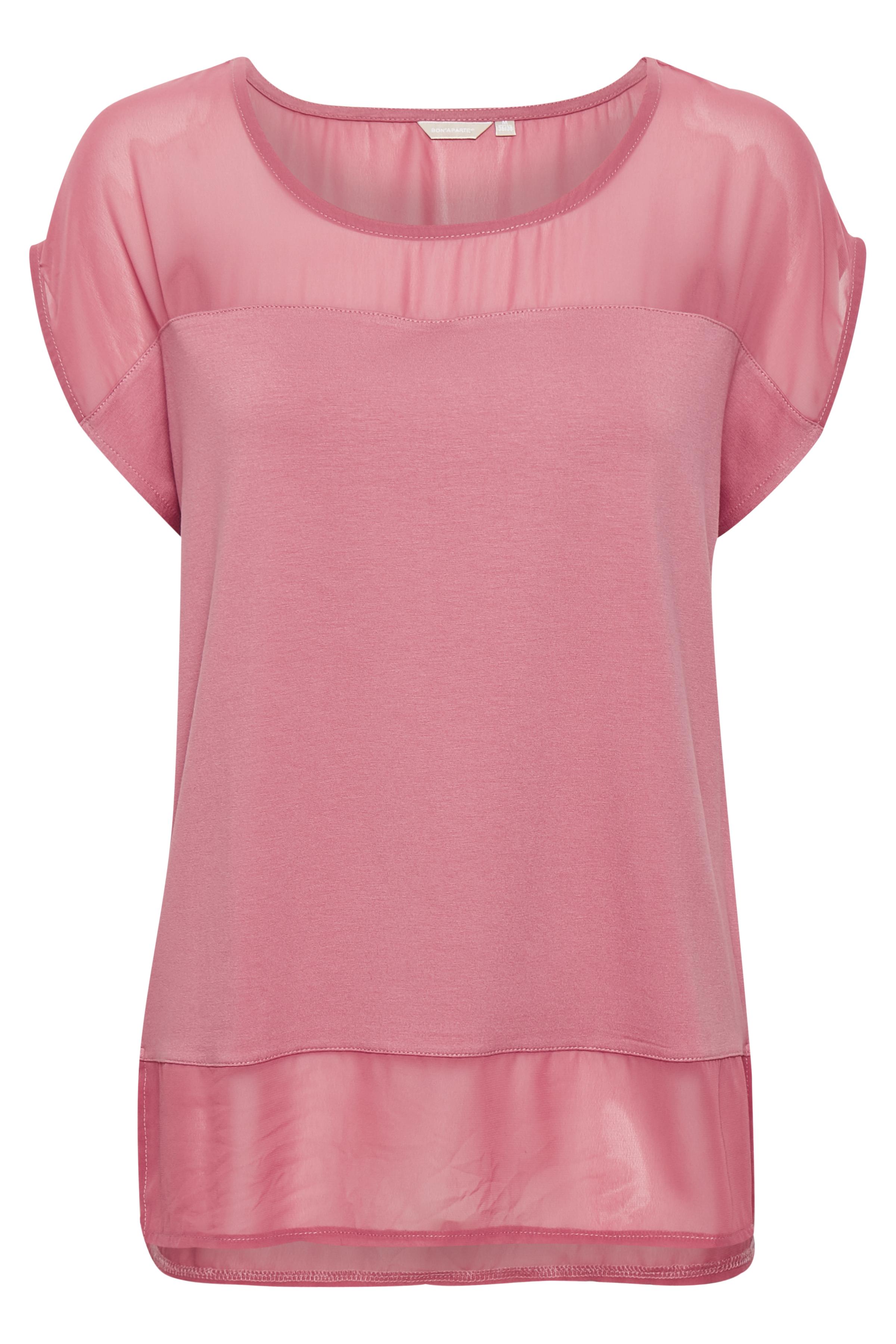 Donkerroze Korte mouwen T-shirt  van Bon'A Parte – Door Donkerroze Korte mouwen T-shirt  van maat. S-2XL hier
