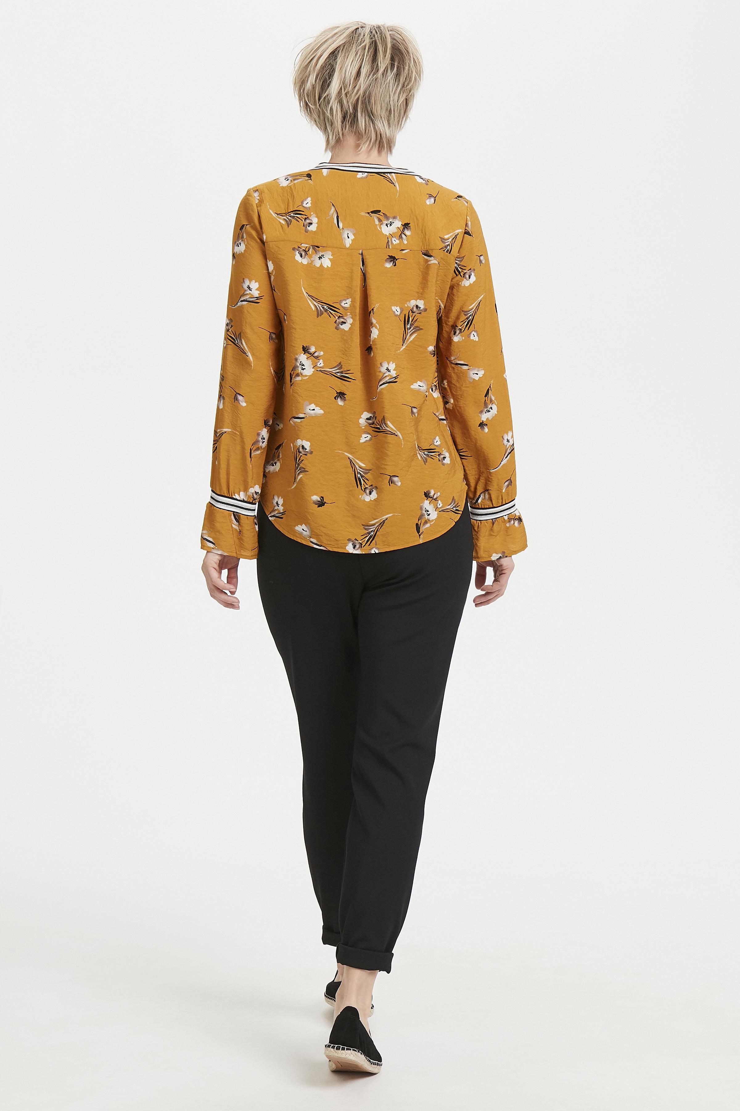 Dunkel curry Langarm-Bluse  von Bon'A Parte – Shoppen Sie Dunkel curry Langarm-Bluse  ab Gr. S-2XL hier