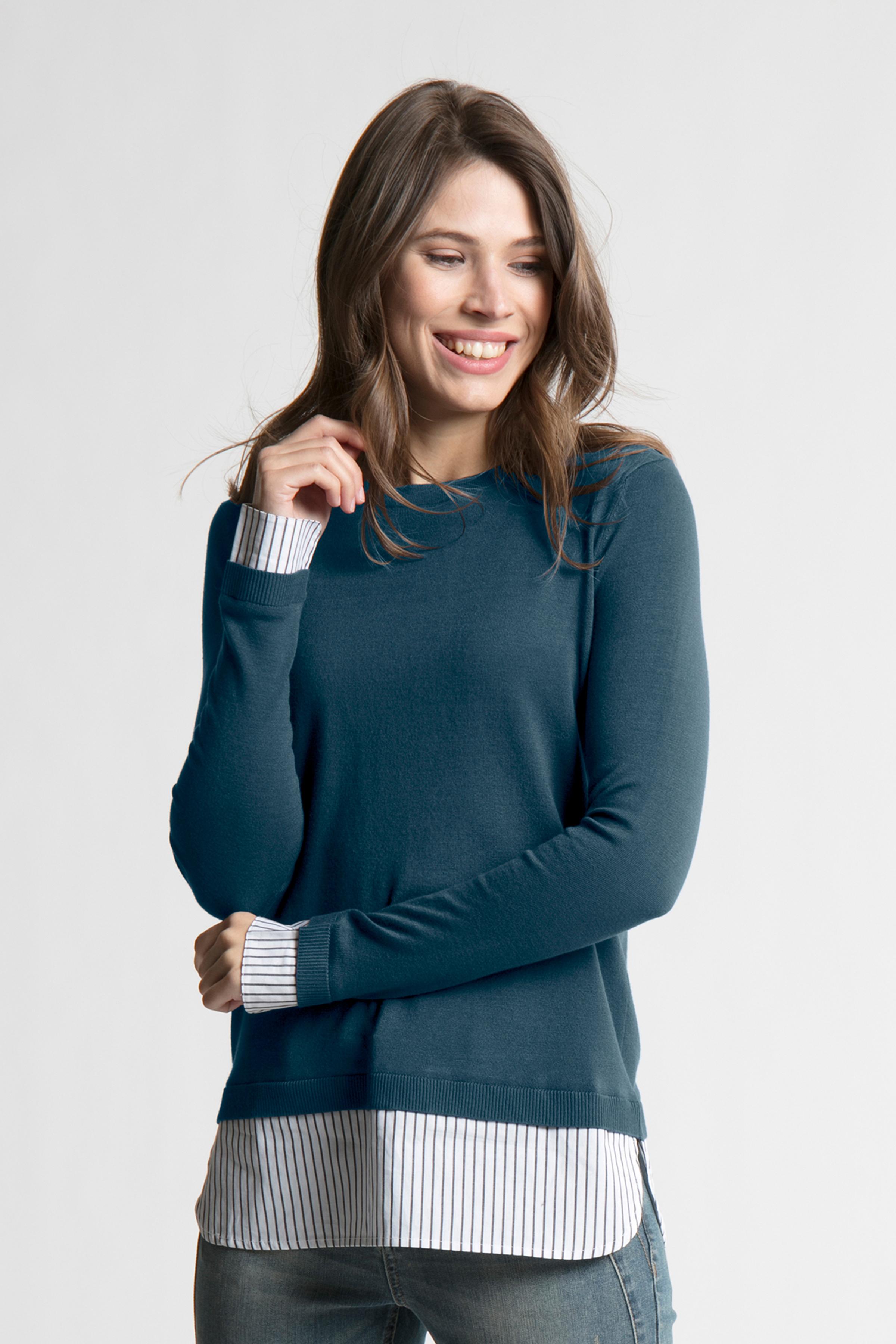 Dunkel marineblau Langarm-Bluse von Bon'A Parte – Shoppen Sie Dunkel marineblau Langarm-Bluse ab Gr. S-2XL hier