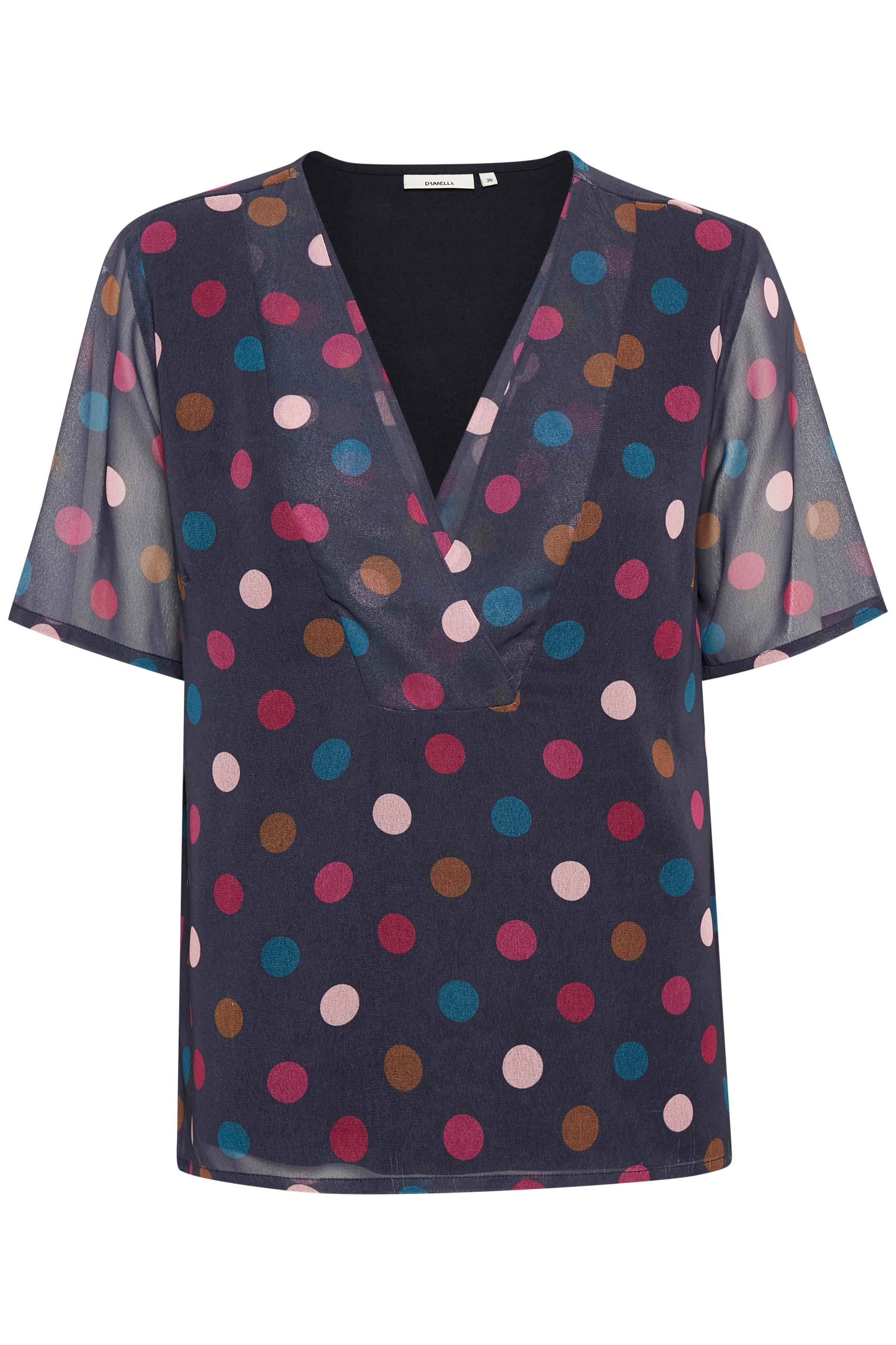 Dunkelblau/rot Kurzarm-Bluse von Dranella – Shoppen Sie Dunkelblau/rot Kurzarm-Bluse ab Gr. 34-46 hier