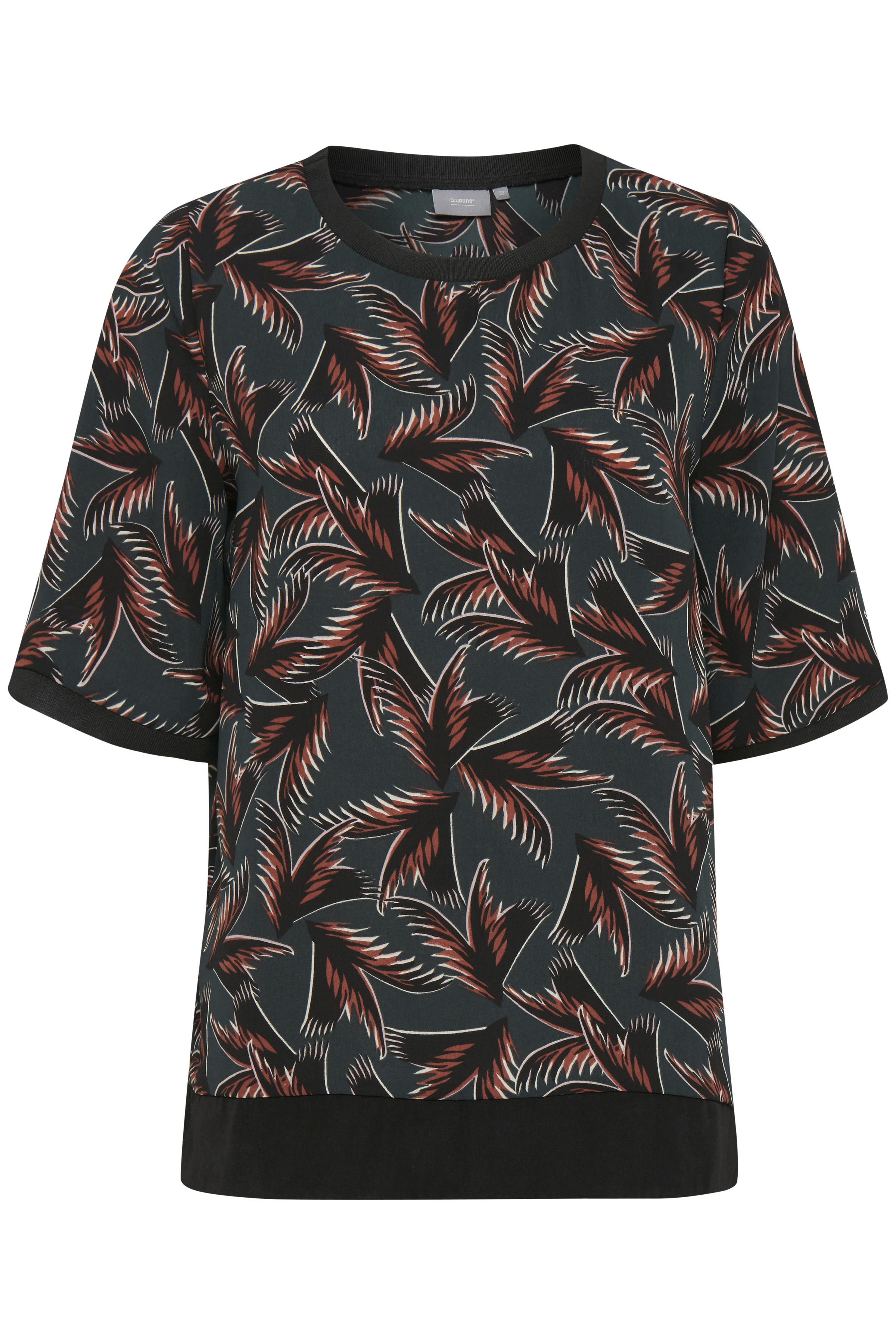 Flaskegrøn/brun Kortærmet bluse fra b.young – Køb Flaskegrøn/brun Kortærmet bluse fra str. 34-46 her