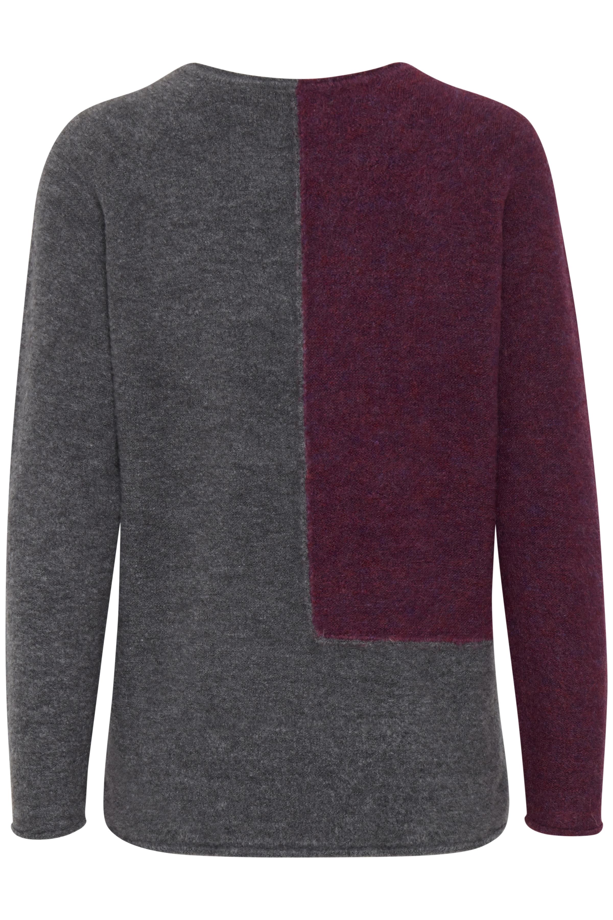 Fuchsia/mörkgrå Stickad pullover från Fransa – Köp Fuchsia/mörkgrå Stickad pullover från stl. XS-XXL här