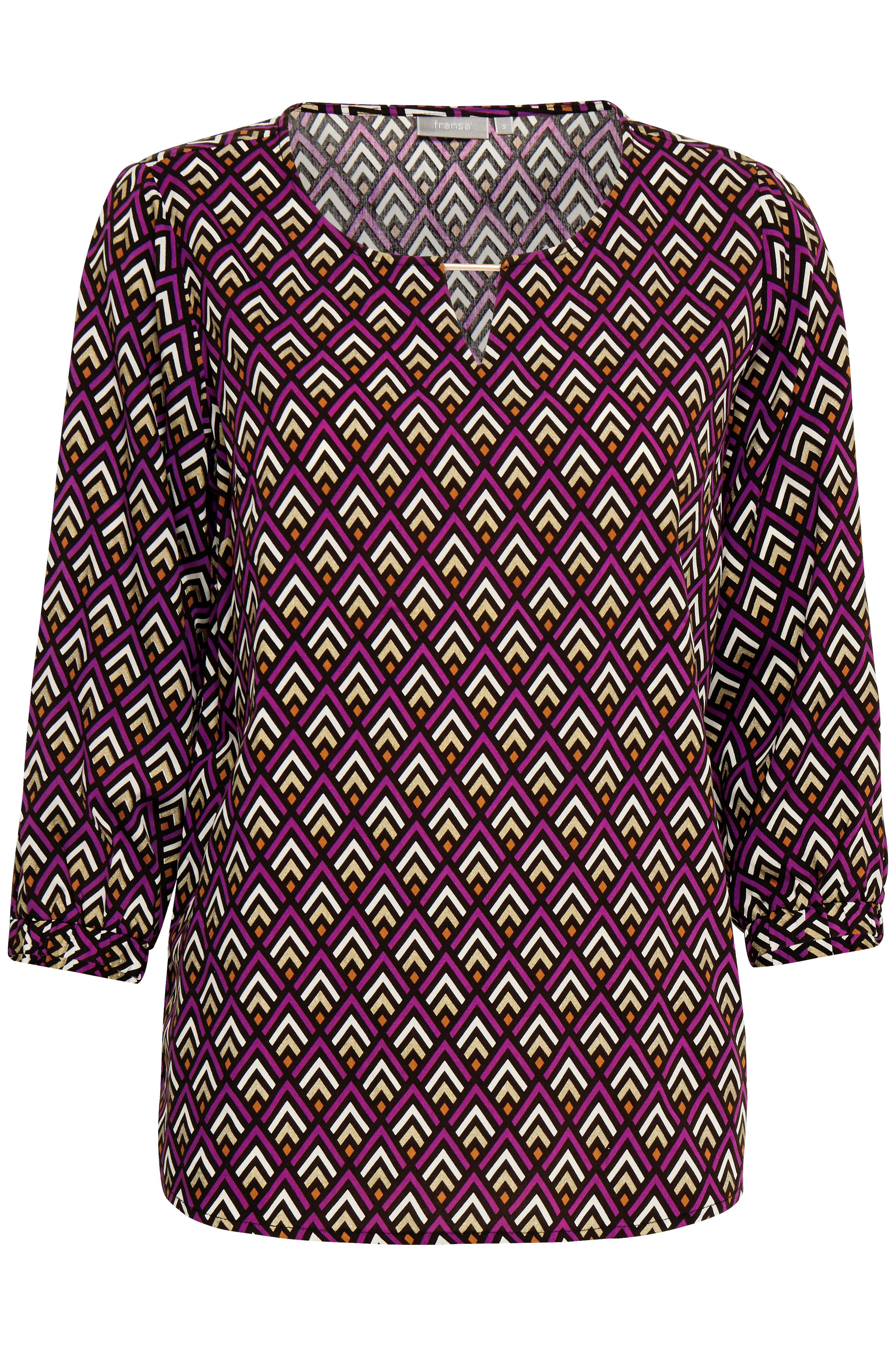 Fuchsia/sand Kortærmet bluse fra Fransa – Køb Fuchsia/sand Kortærmet bluse fra str. XS-XXL her
