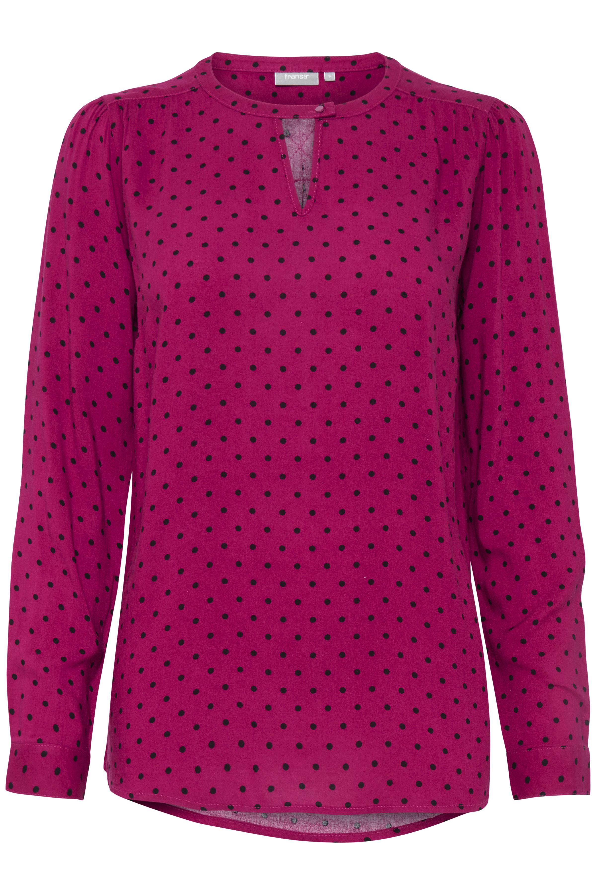 Fuchsia/sort Langærmet bluse fra Fransa – Køb Fuchsia/sort Langærmet bluse fra str. XS-XXL her