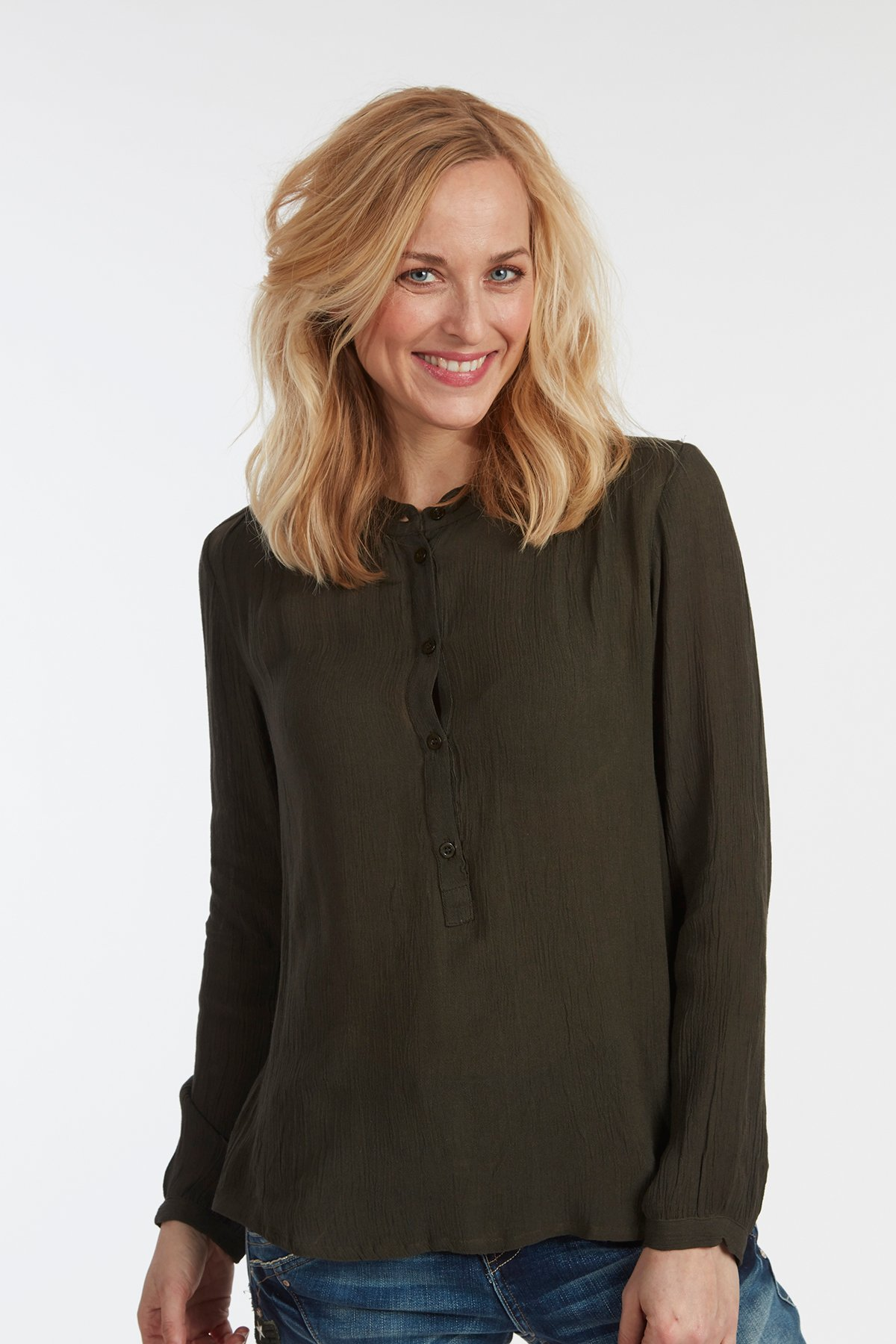 Gebranntes grün Langarm-Bluse von Kaffe – Shoppen Sie Gebranntes grün Langarm-Bluse ab Gr. 34-46 hier