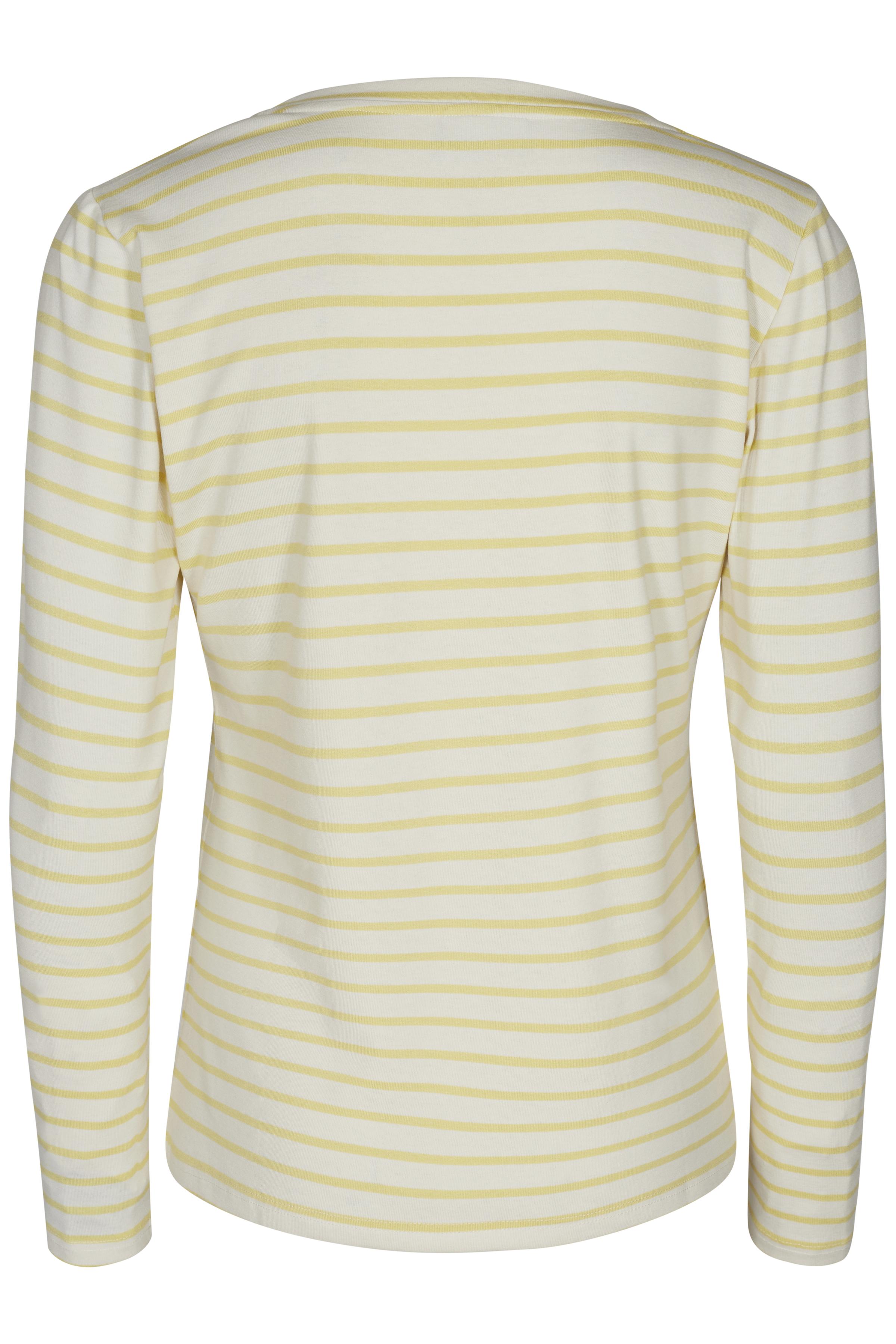 Geel/off-white T-shirt lange mouw van Kaffe – Door Geel/off-white T-shirt lange mouw van maat. XS-XXL hier