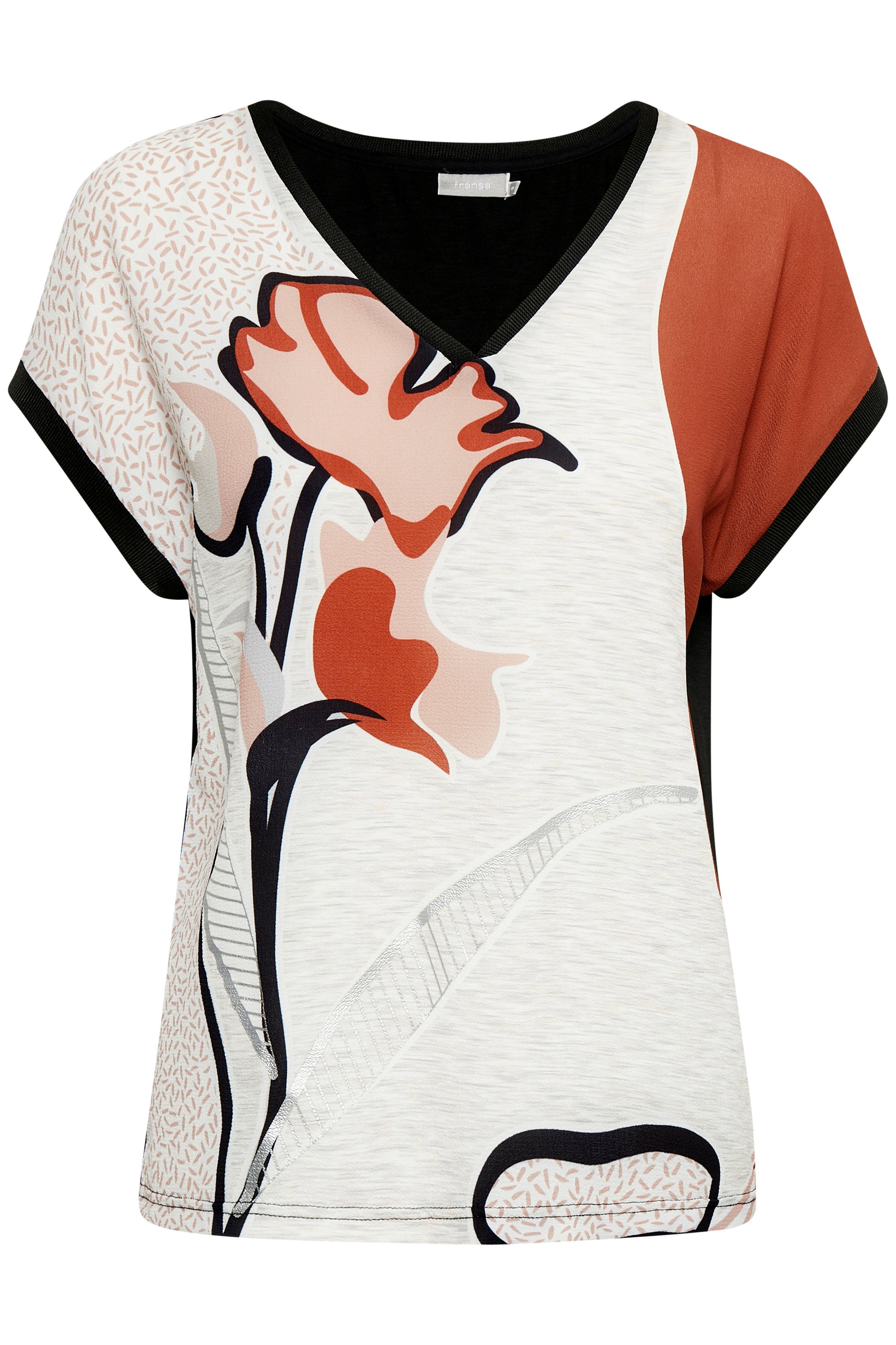 Billede af Fransa Dame Kortærmet T-shirt  - Grå/brændt rød