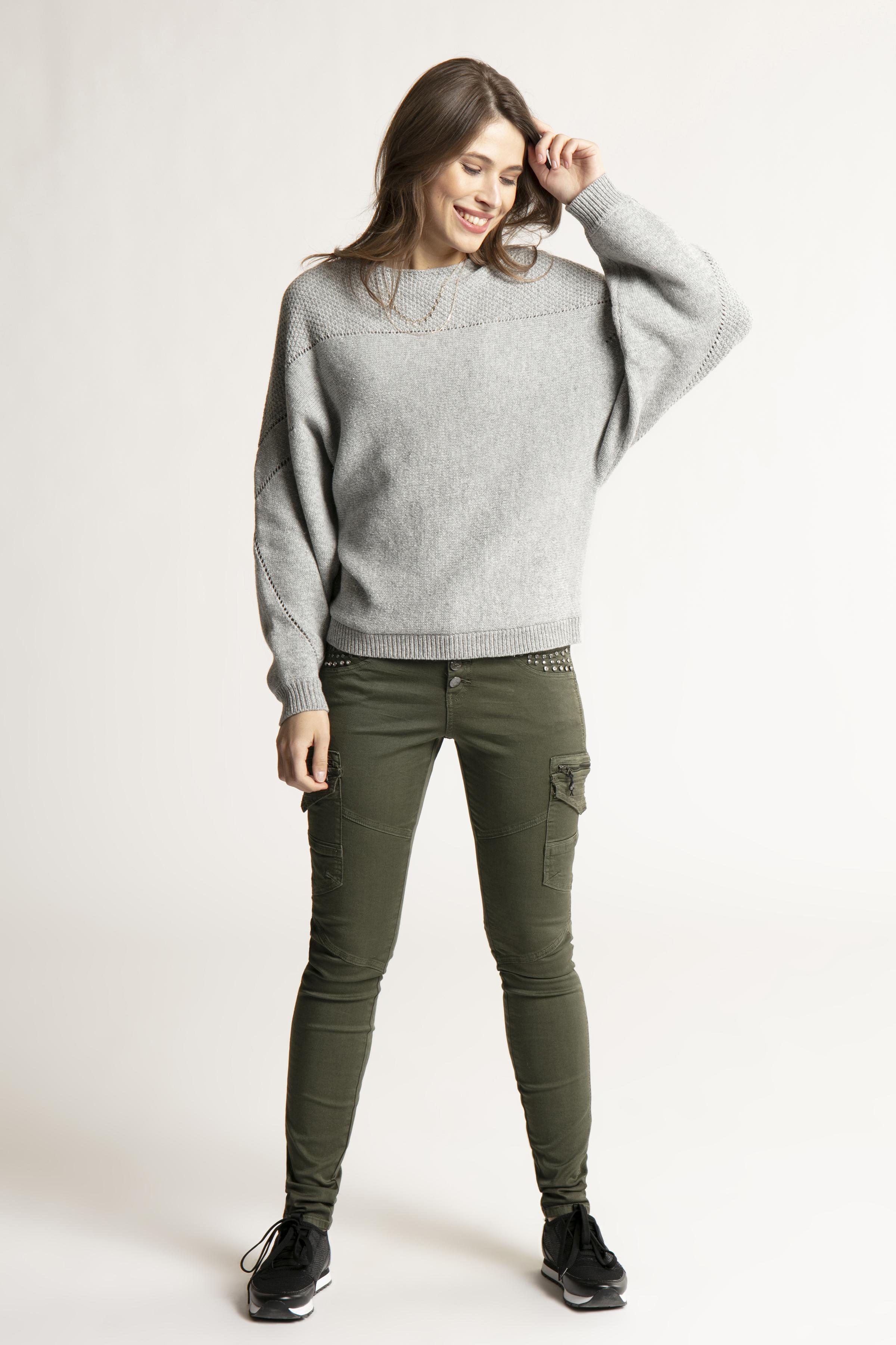Gråmelerad Stickad pullover från Bon'A Parte – Köp Gråmelerad Stickad pullover från stl. S-2XL här