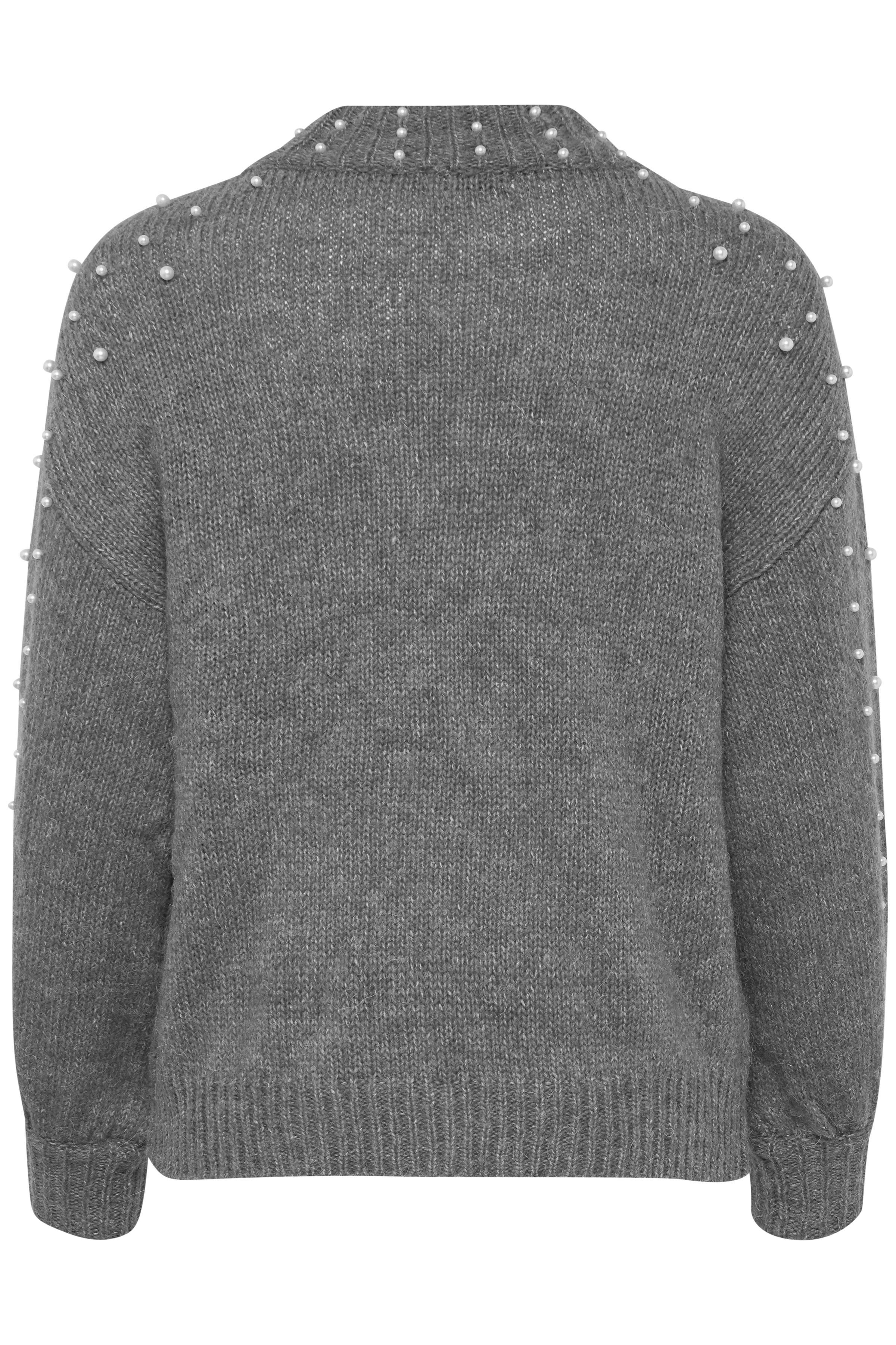Gråmelerad Stickad pullover från Dranella – Köp Gråmelerad Stickad pullover från stl. XS-XXL här