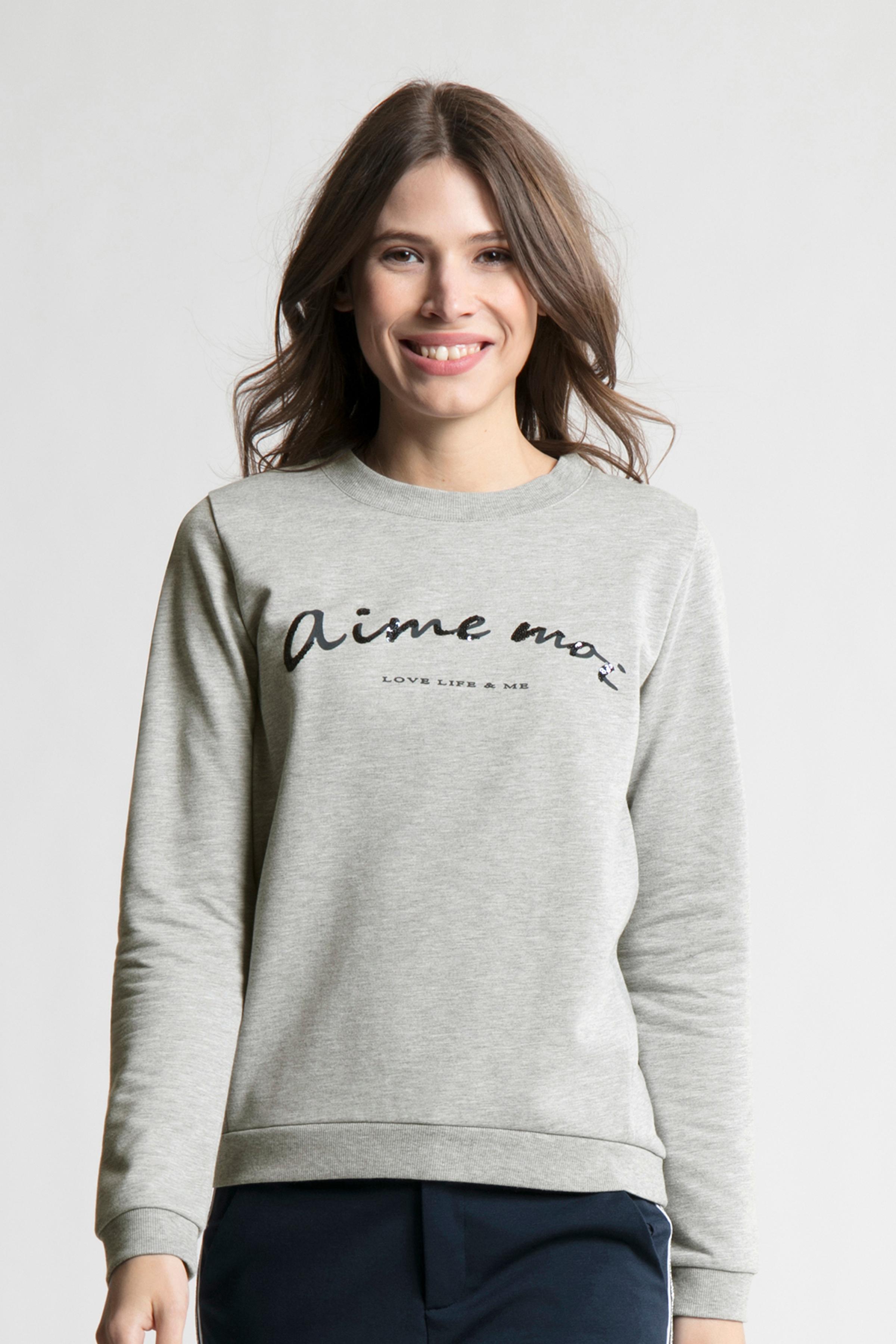 Gråmelerad Sweatshirt från Bon'A Parte – Köp Gråmelerad Sweatshirt från stl. S-2XL här