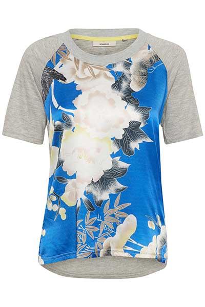 Image of Dranella Dame Super fin Nagripp T-shirt - Gråmeleret/blå