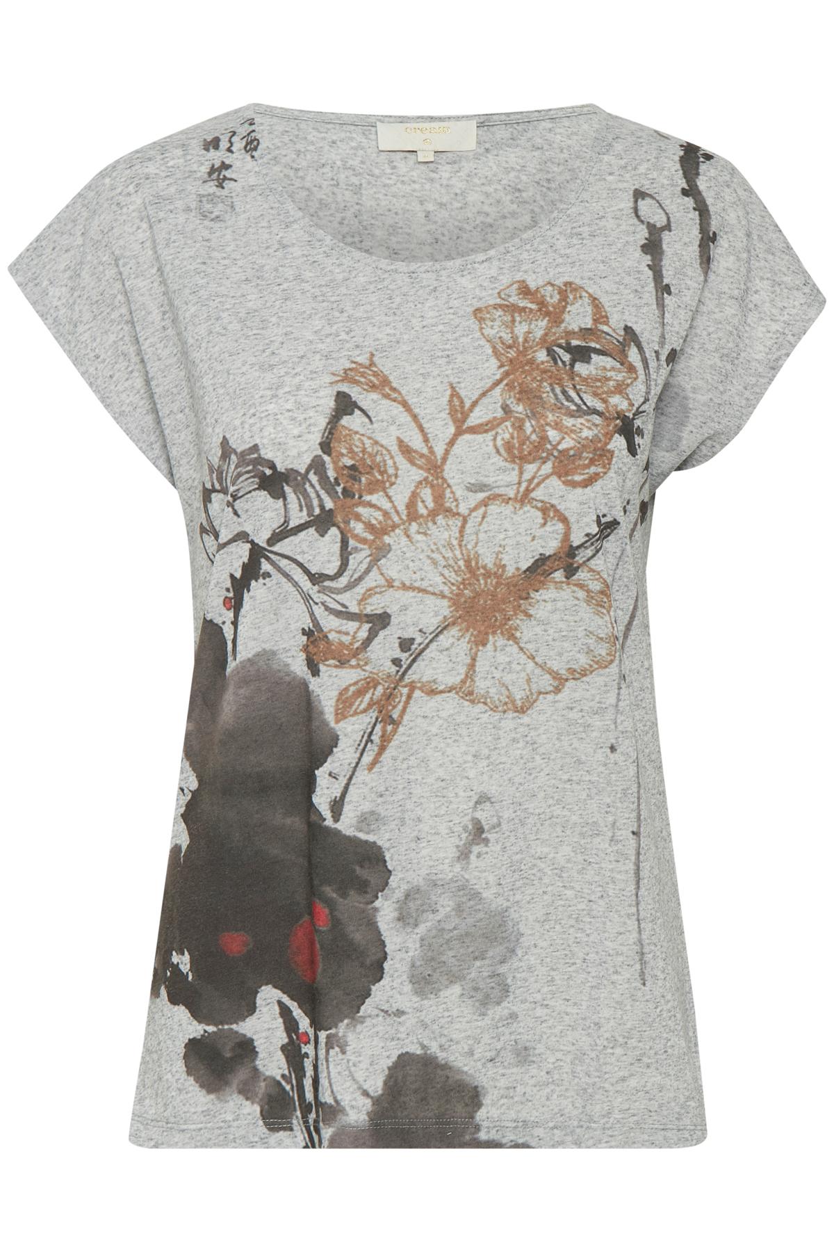 Image of Cream Dame Kortærmet Ally T-shirt - Gråmeleret