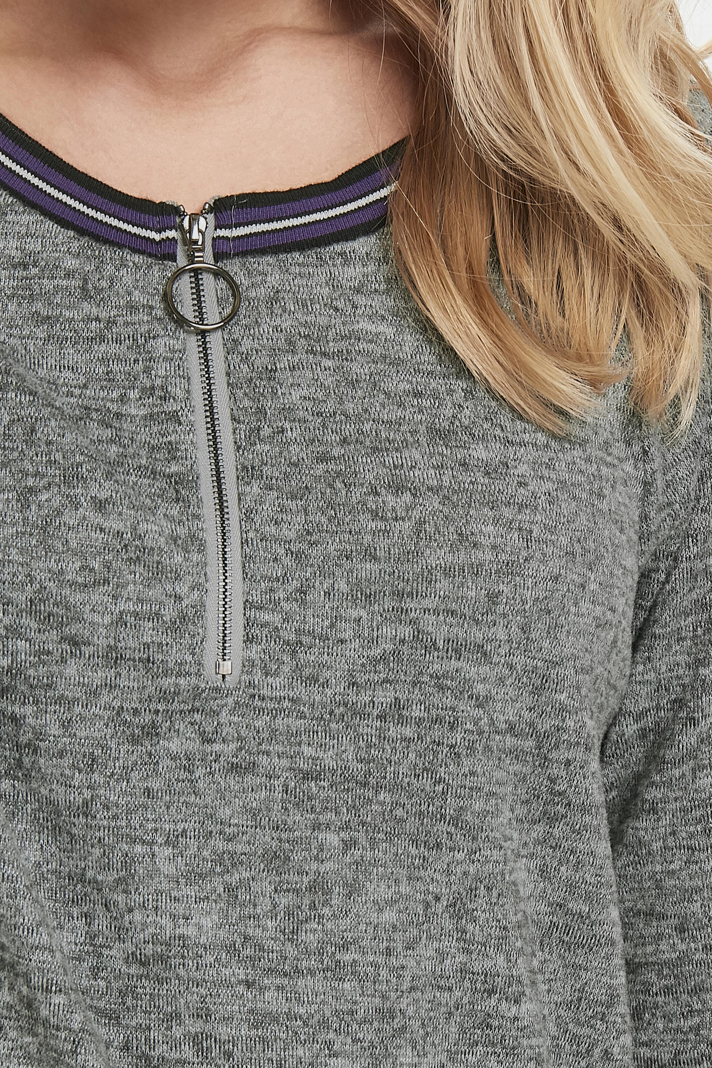 Gråmeleret Langærmet bluse fra Fransa – Køb Gråmeleret Langærmet bluse fra str. XS-XXL her