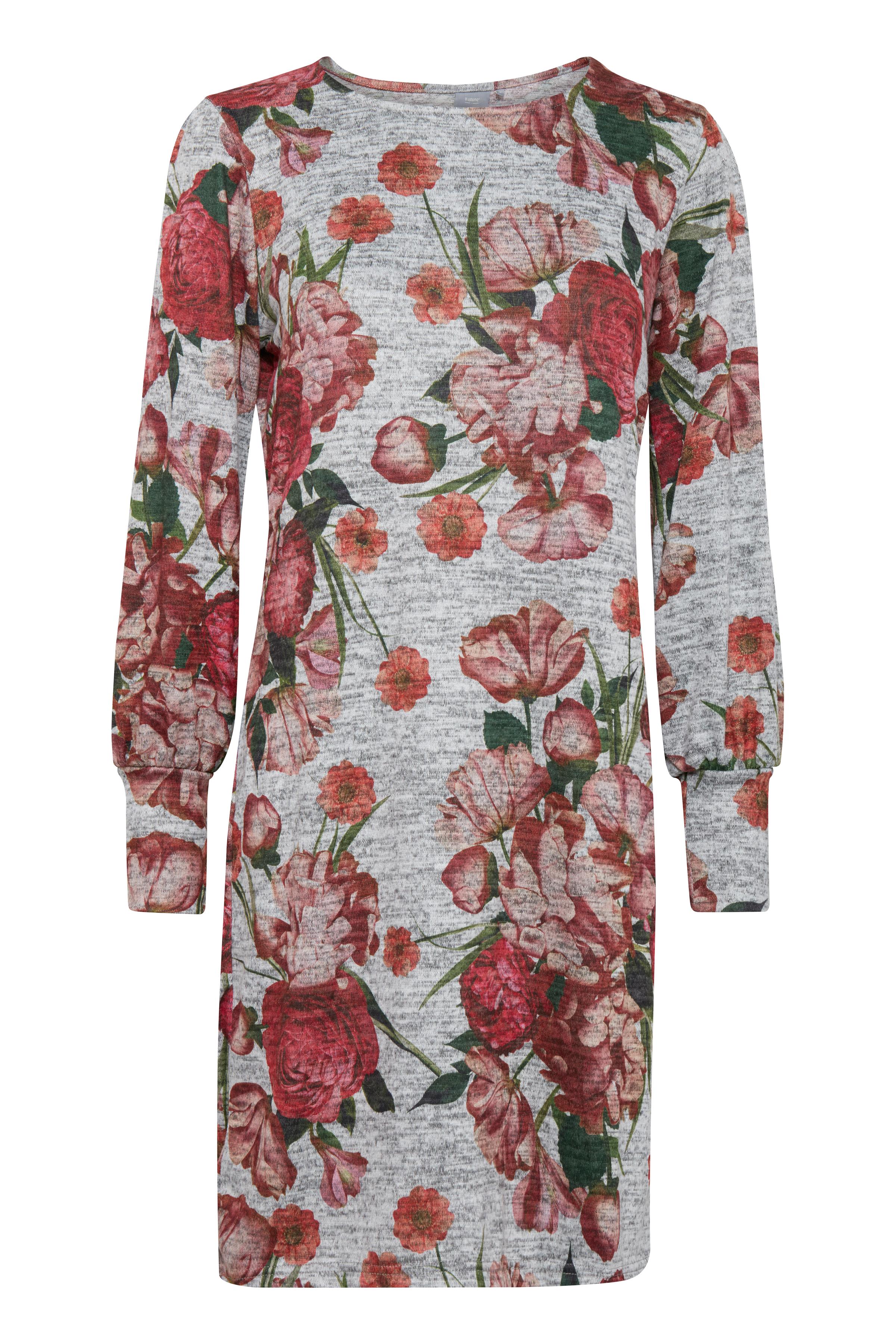 b.young Dame Jersey kjole - Gråmeleret/rød