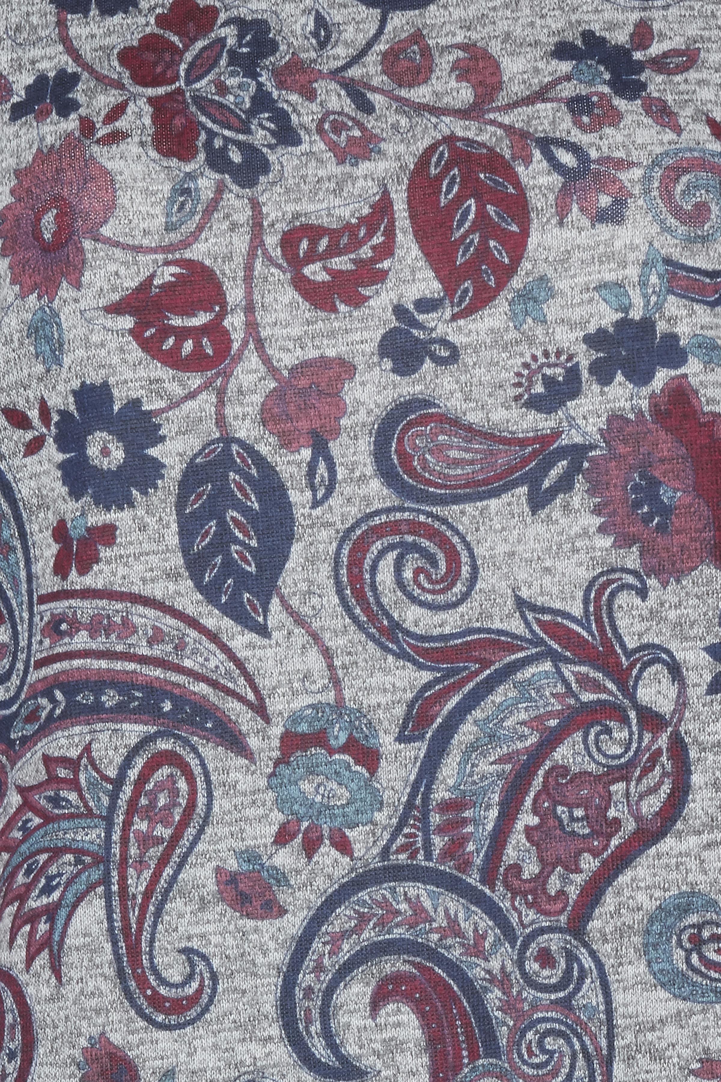 Gråmeleret/rød Strikbluse  fra Dranella – Køb Gråmeleret/rød Strikbluse  fra str. XS-XL her