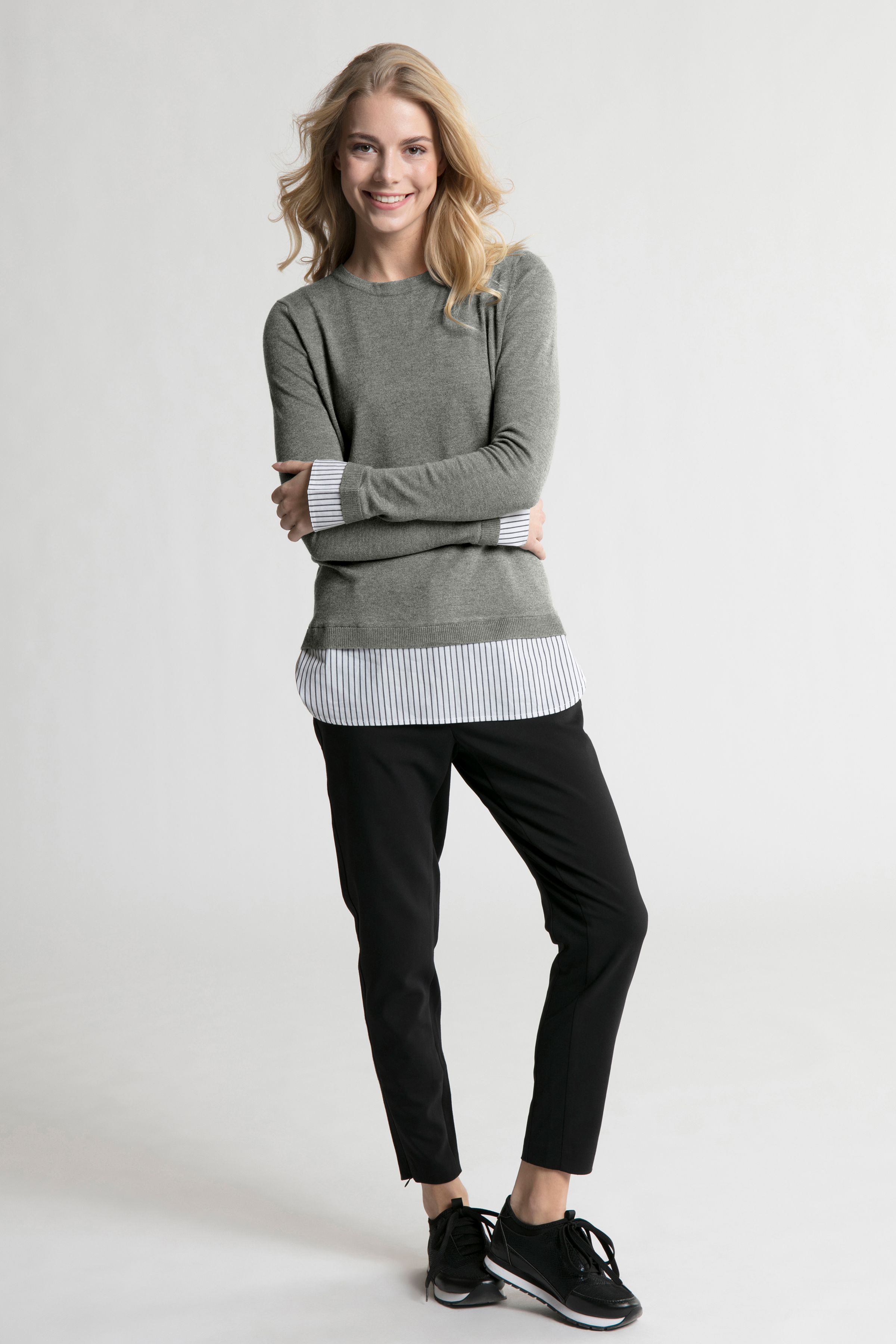 Grau meliert Langarm-Bluse von Bon'A Parte – Shoppen Sie Grau meliert Langarm-Bluse ab Gr. S-2XL hier