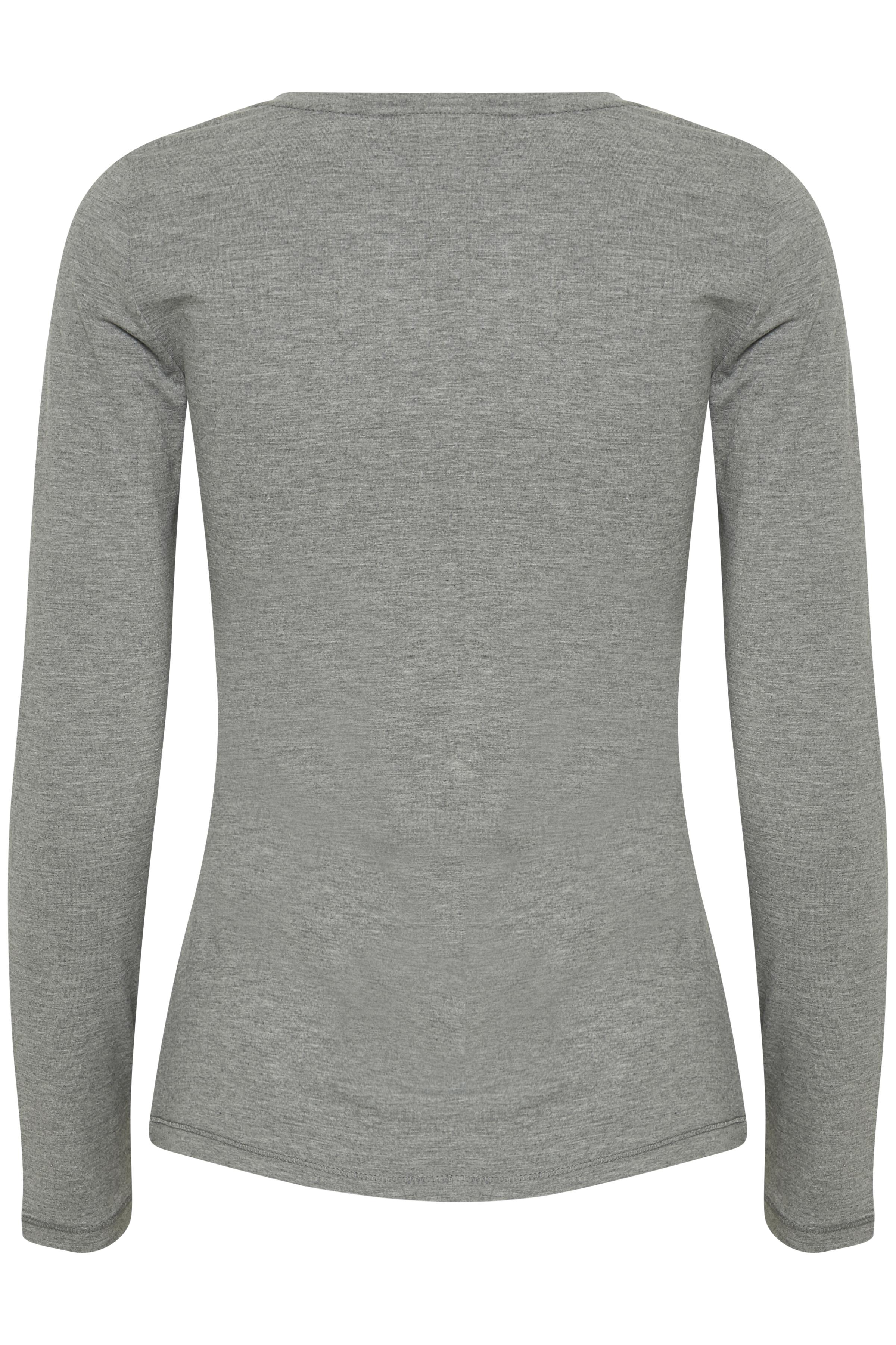 Grijsgemêleerd T-shirt lange mouw van Fransa – Door Grijsgemêleerd T-shirt lange mouw van maat. XS-XXL hier