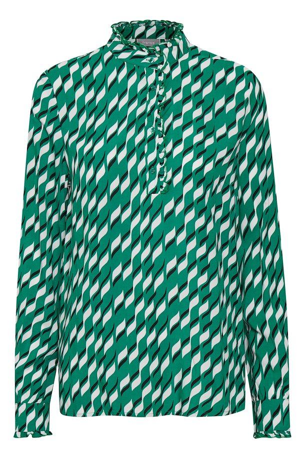da368db488ae Grøn hvid Langærmet bluse fra Fransa – Køb Grøn hvid Langærmet bluse fra str.  XS-XXL her