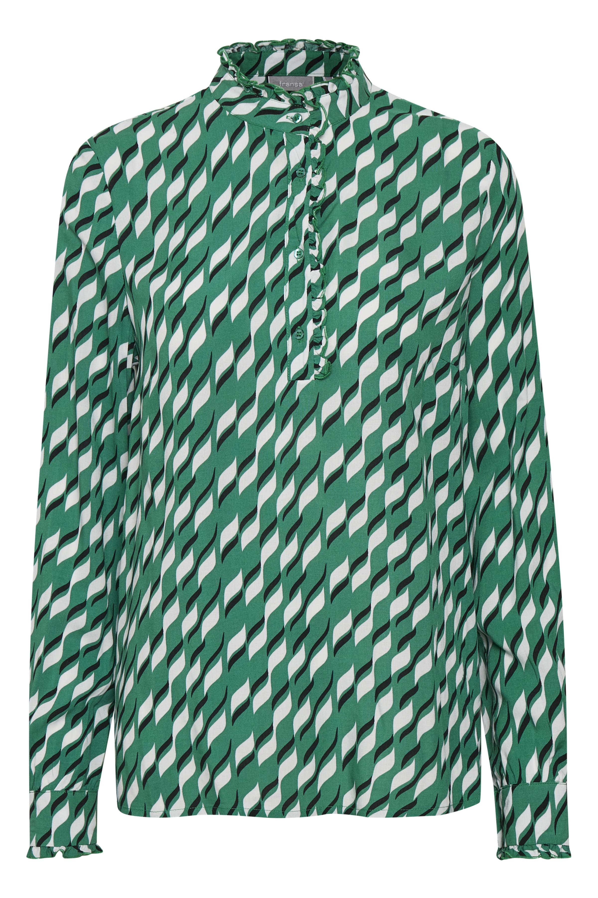 Groen/wit Blouse met lange mouwen van Fransa – Door Groen/wit Blouse met lange mouwen van maat. XS-XXL hier