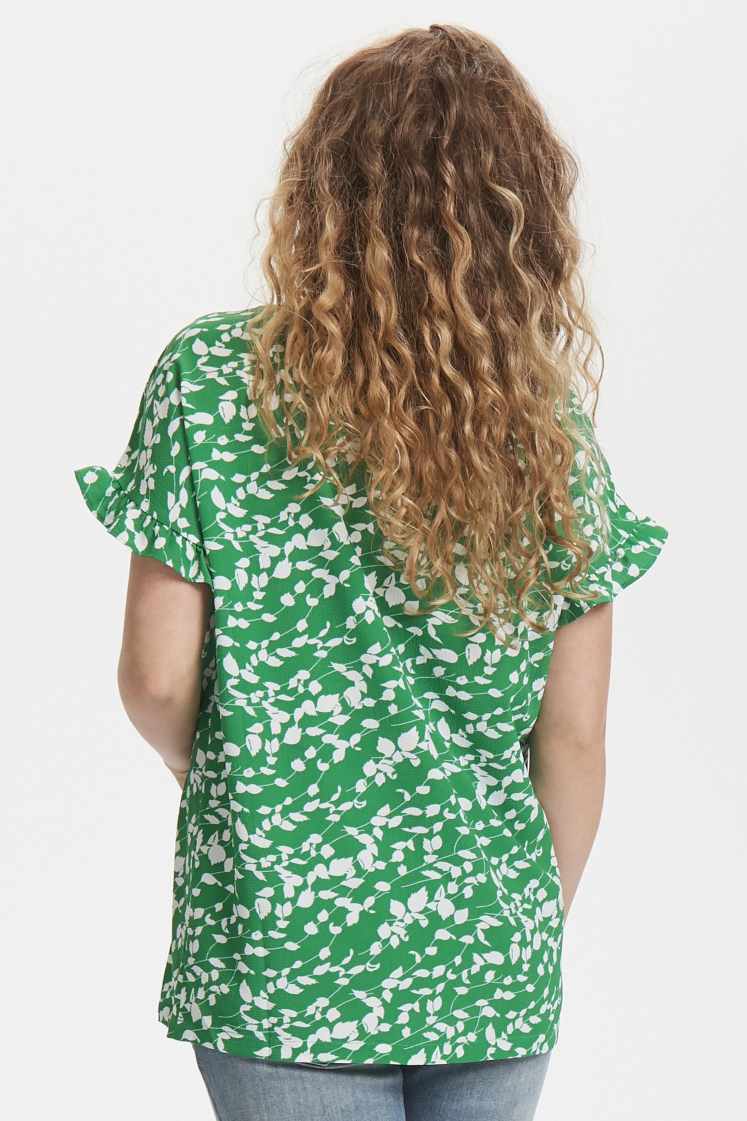 Groen/wit Korte mouwen shirt  van Fransa – Door Groen/wit Korte mouwen shirt  van maat. XS-XXL hier