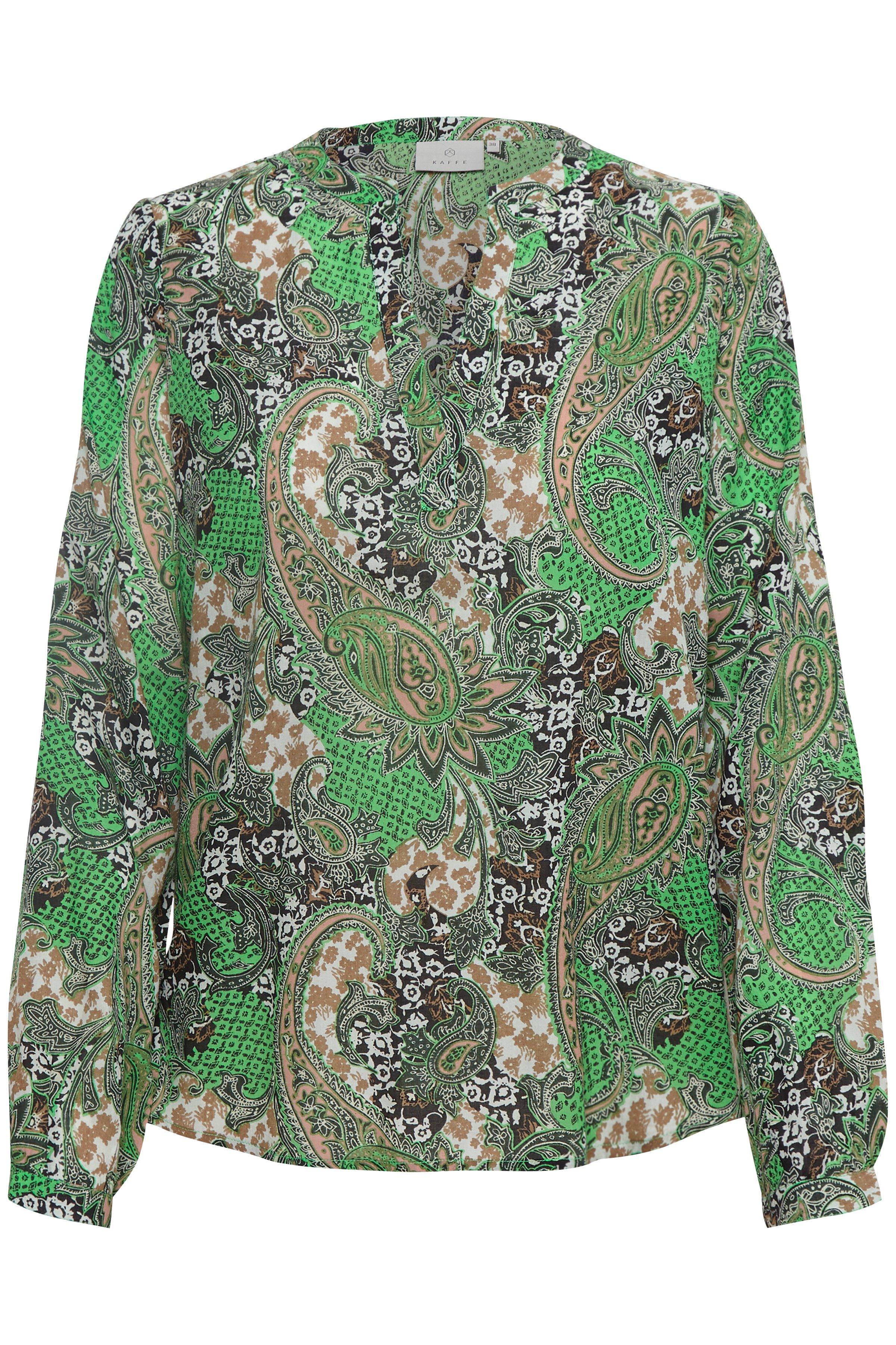 Grön/svart Långärmad blus från Kaffe – Köp Grön/svart Långärmad blus från stl. 34-46 här