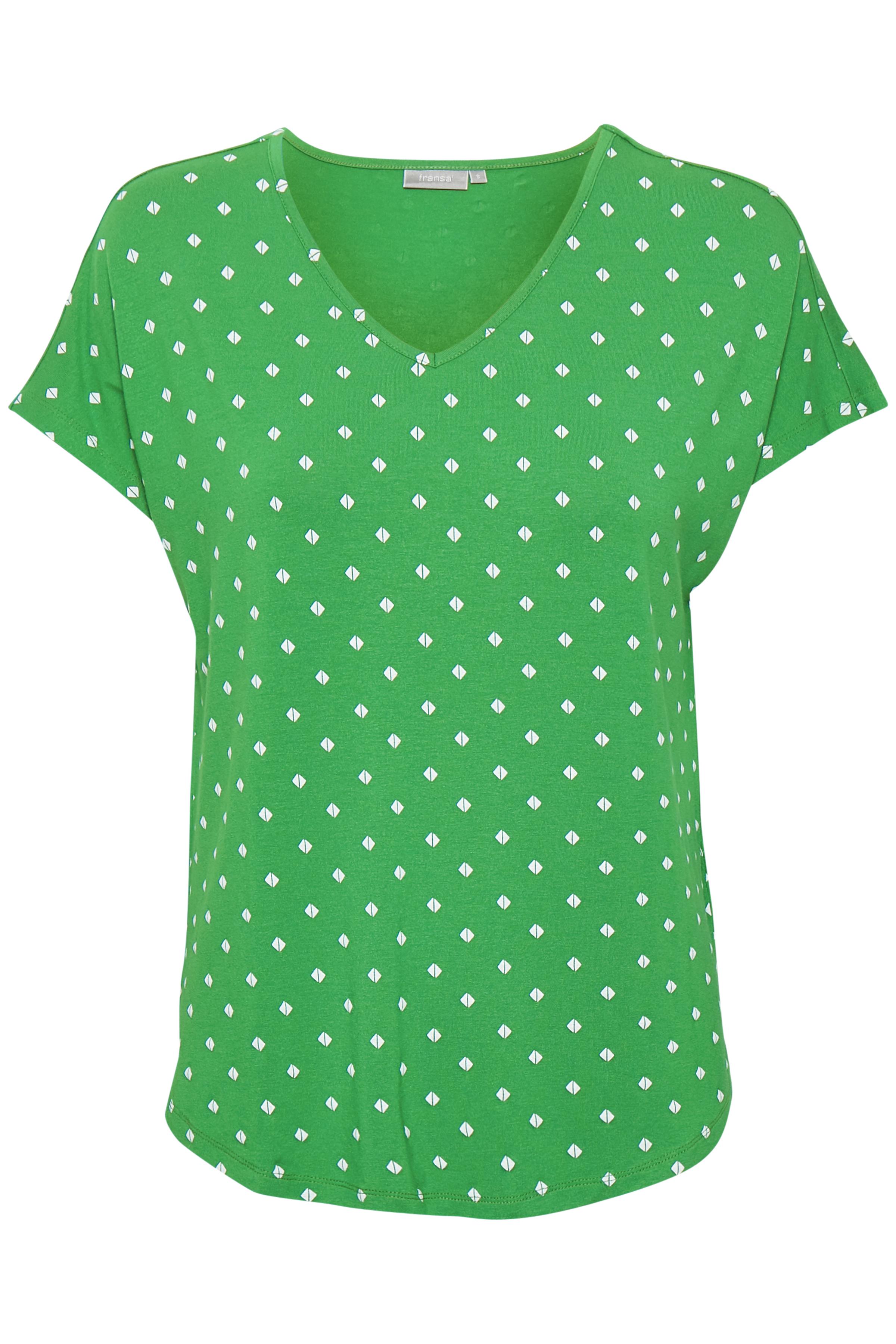 Grön/vit Kortärmad T-shirt från Fransa – Köp Grön/vit Kortärmad T-shirt från stl. XS-XXL här