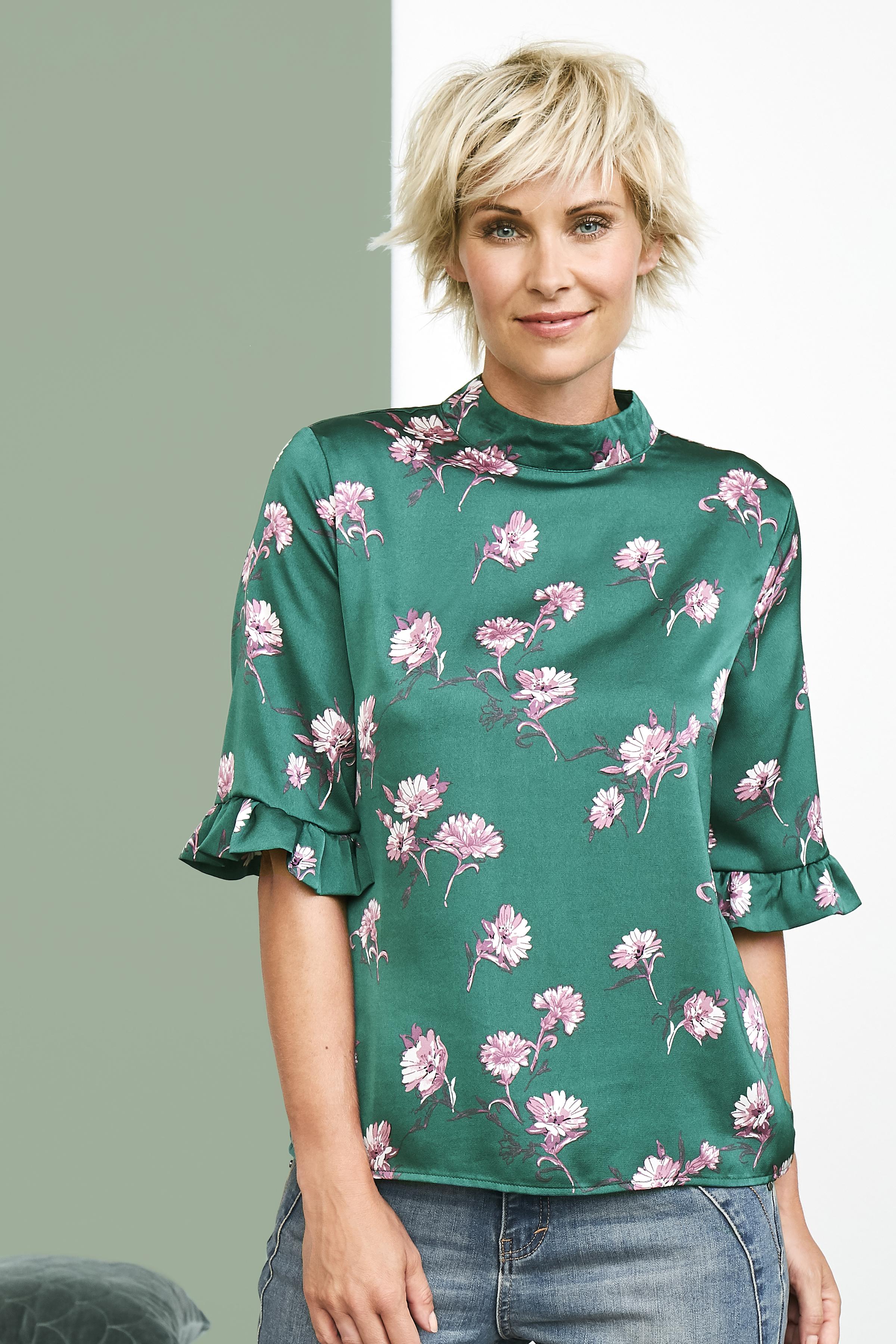 Grün/pink Kurzarm-Bluse von Dranella – Shoppen Sie Grün/pink Kurzarm-Bluse ab Gr. XS-XXL hier
