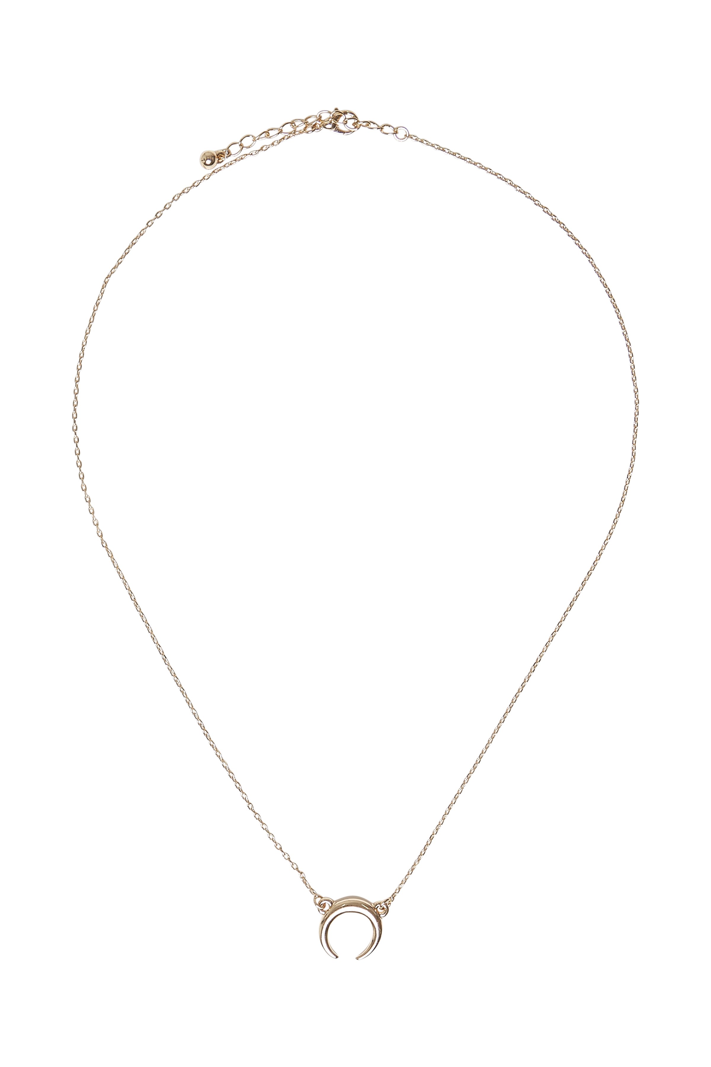 Image of Fransa Dame Fransa halskæde med et vedhæng formet som en halv cirkel. Perfekt til både hverdag og fest. - Guld