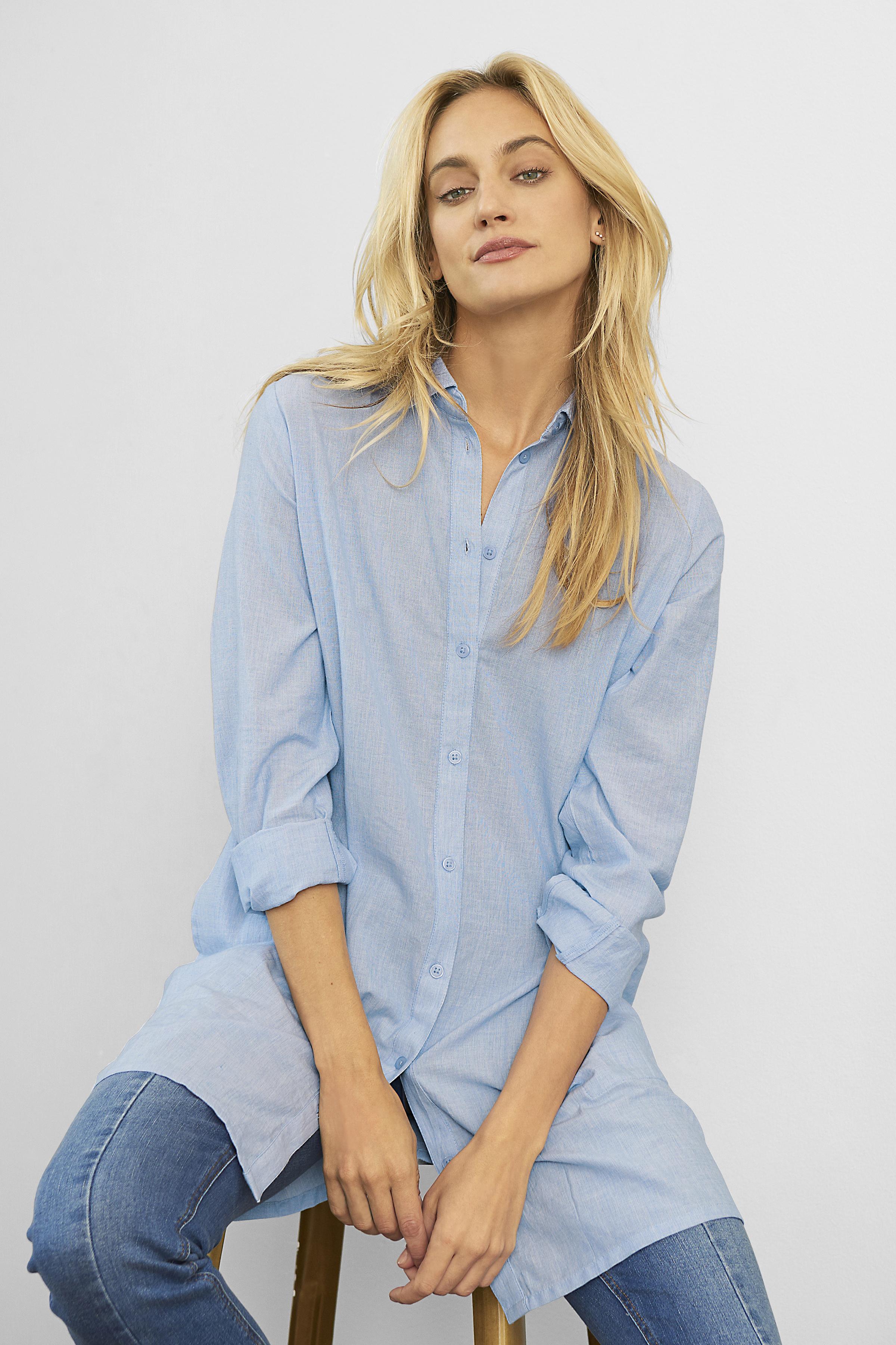 Hellblau/weiß Kleid von Kaffe – Shoppen Sie Hellblau/weiß Kleid ab Gr. 34-46 hier