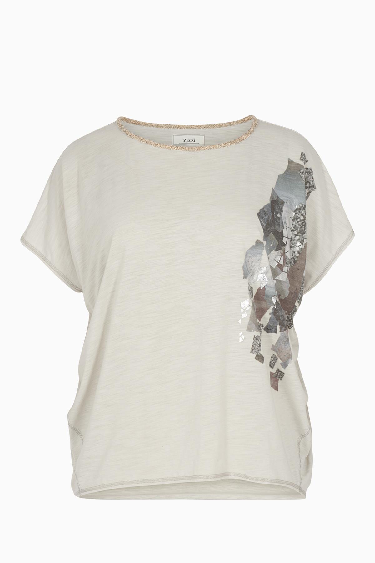 Hellgrau Kurzarm T-Shirt von Zizzi – Shoppen Sie Hellgrau Kurzarm T-Shirt ab Gr. 42-44-54-56 hier