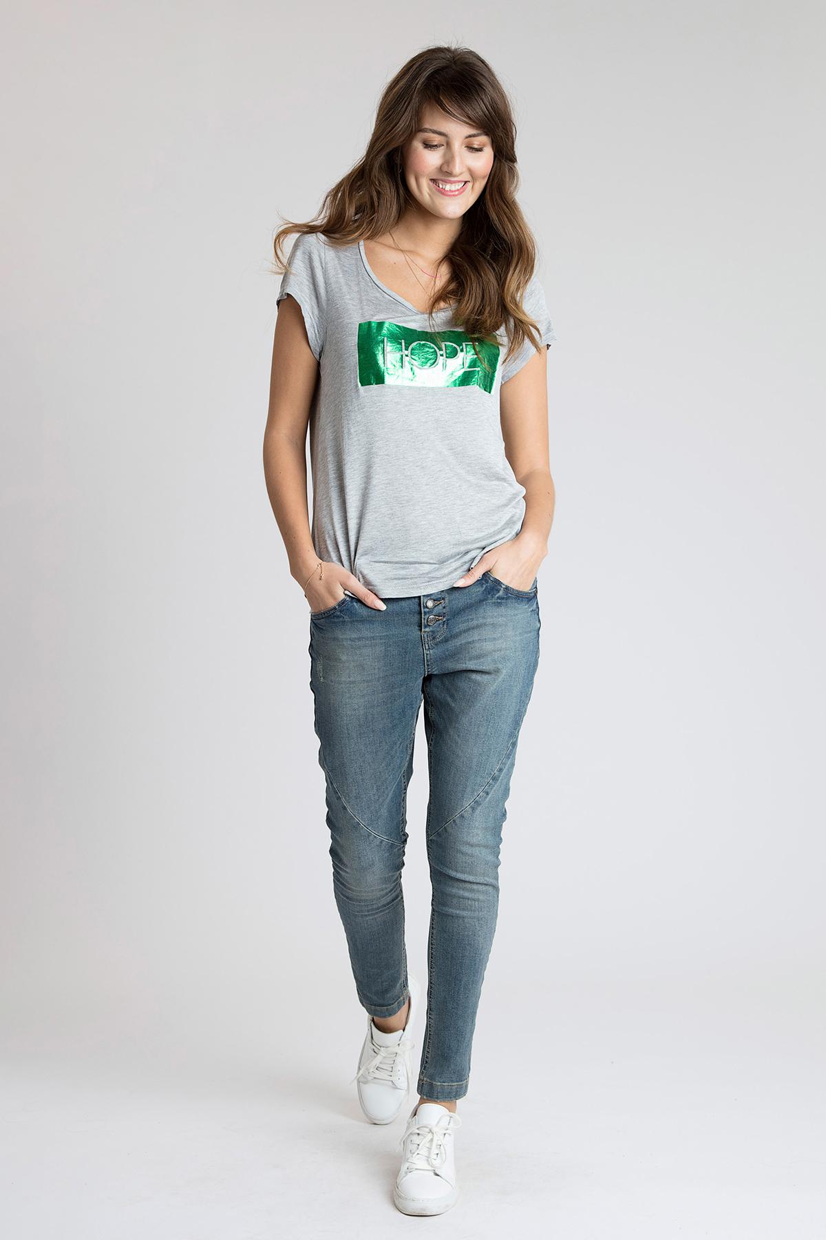Hellgrau meliert Kurzarm T-Shirt von Kaffe – Shoppen Sie Hellgrau meliert Kurzarm T-Shirt ab Gr. XS-XXL hier