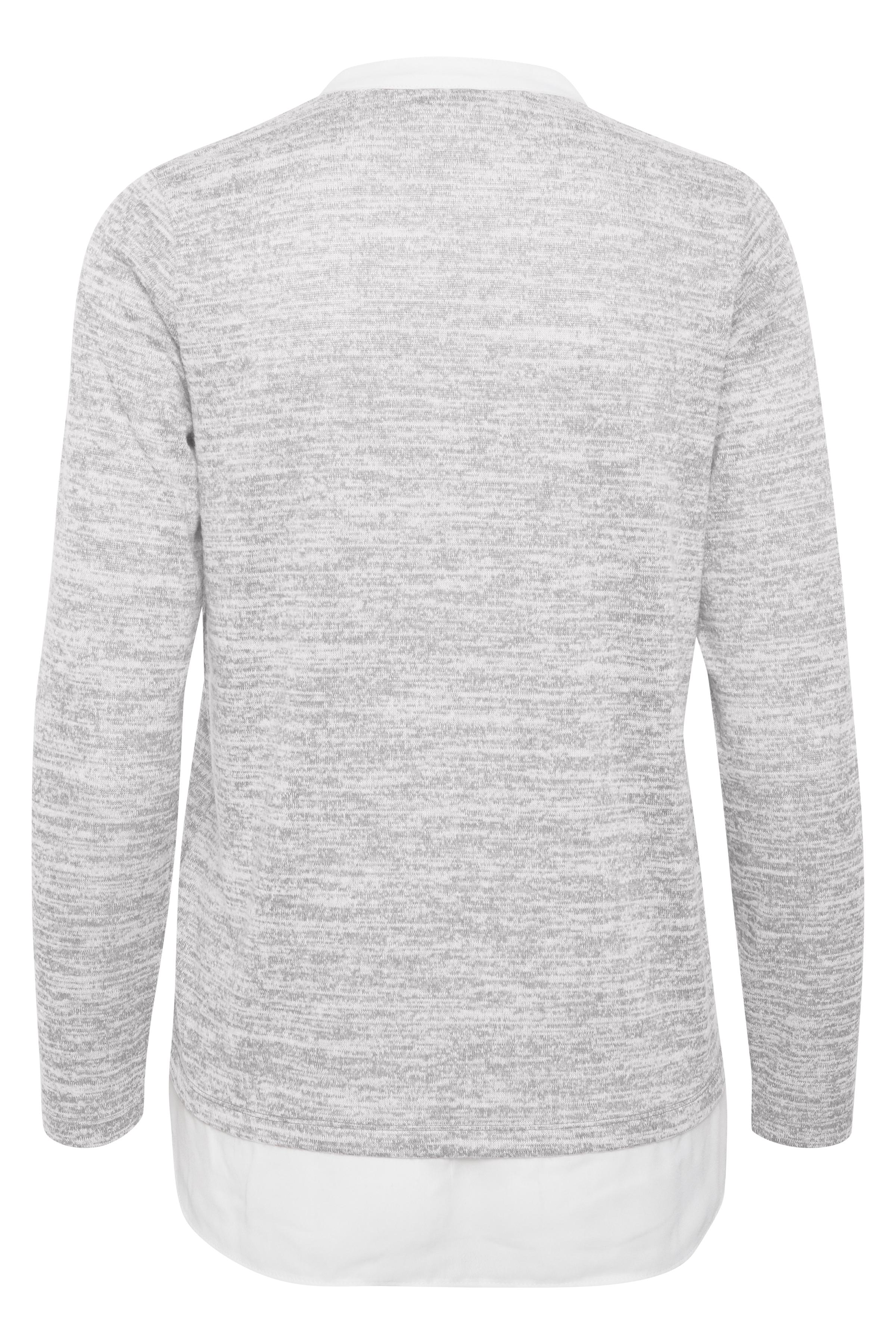 Hellgrau meliert/weiß Langarm-Bluse  von Fransa – Shoppen Sie Hellgrau meliert/weiß Langarm-Bluse  ab Gr. XS-XXL hier
