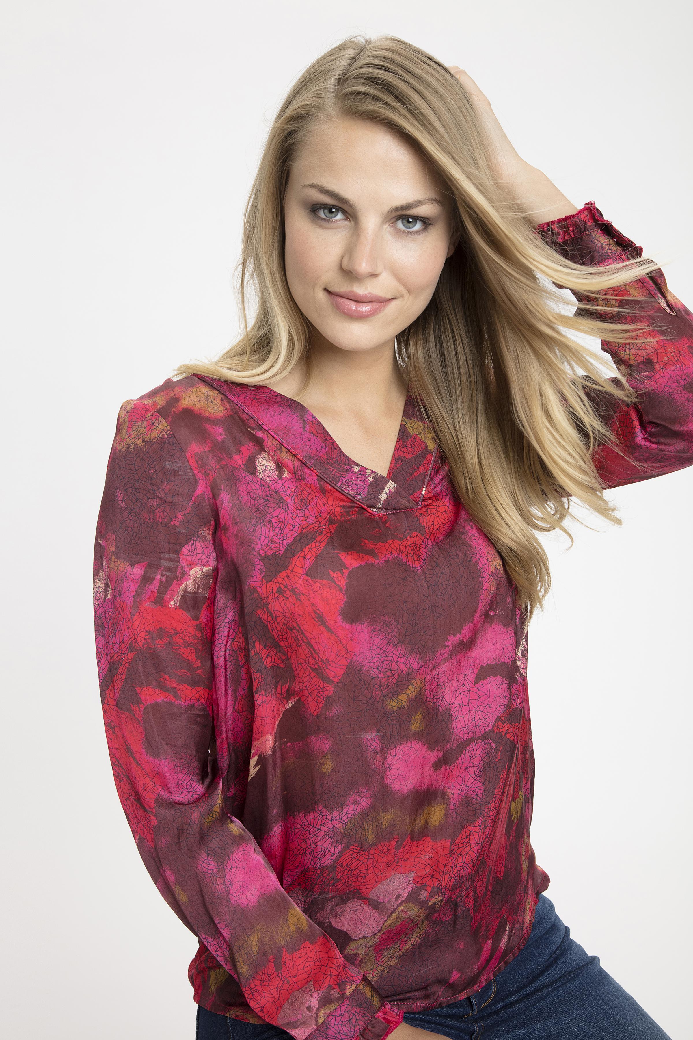 Hindbærrød Langærmet bluse fra Dranella – Køb Hindbærrød Langærmet bluse fra str. XS-XXL her
