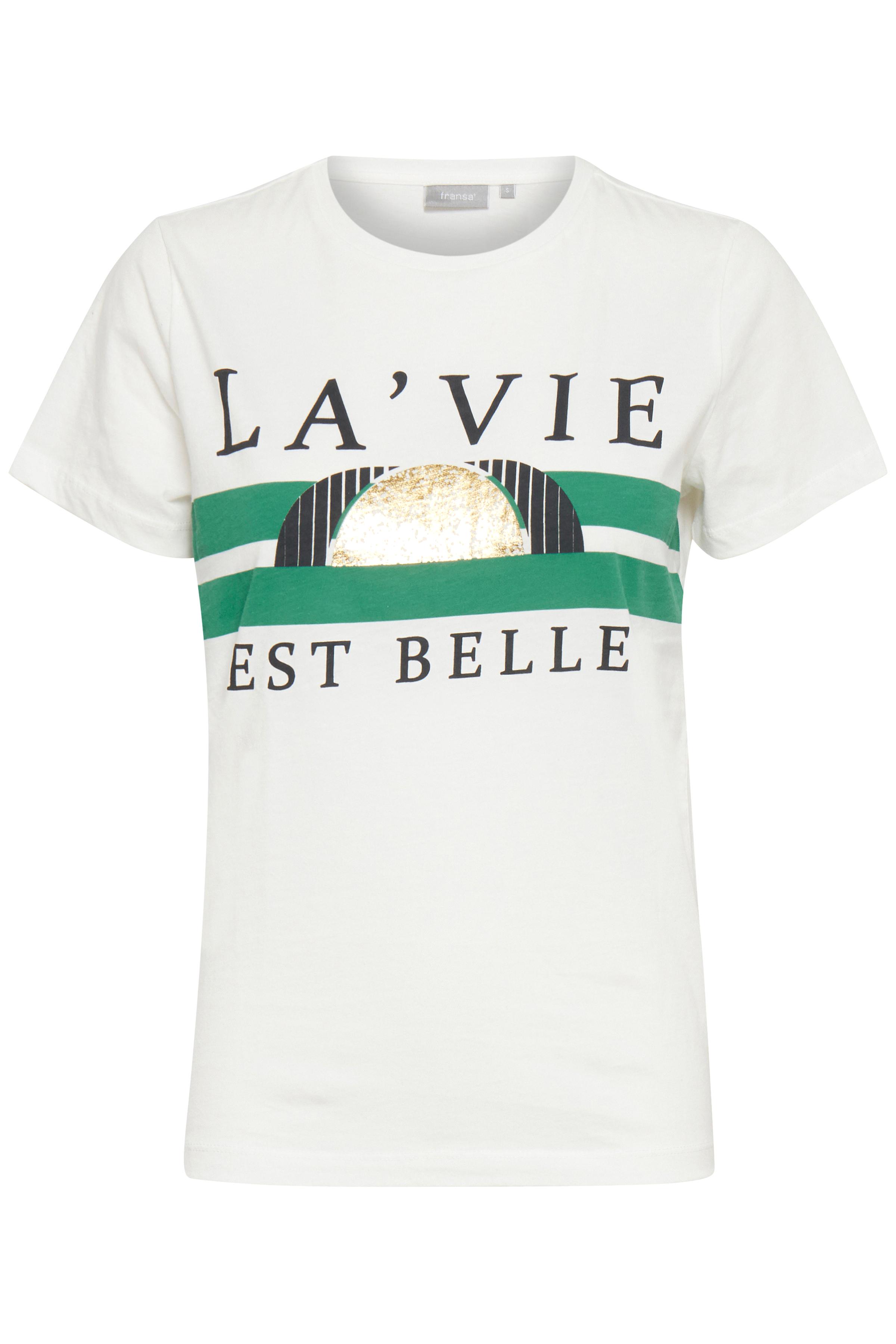 Hvid/flaskrgrøn Kortærmet T-shirt fra Fransa – Køb Hvid/flaskrgrøn Kortærmet T-shirt fra str. XS-XXL her