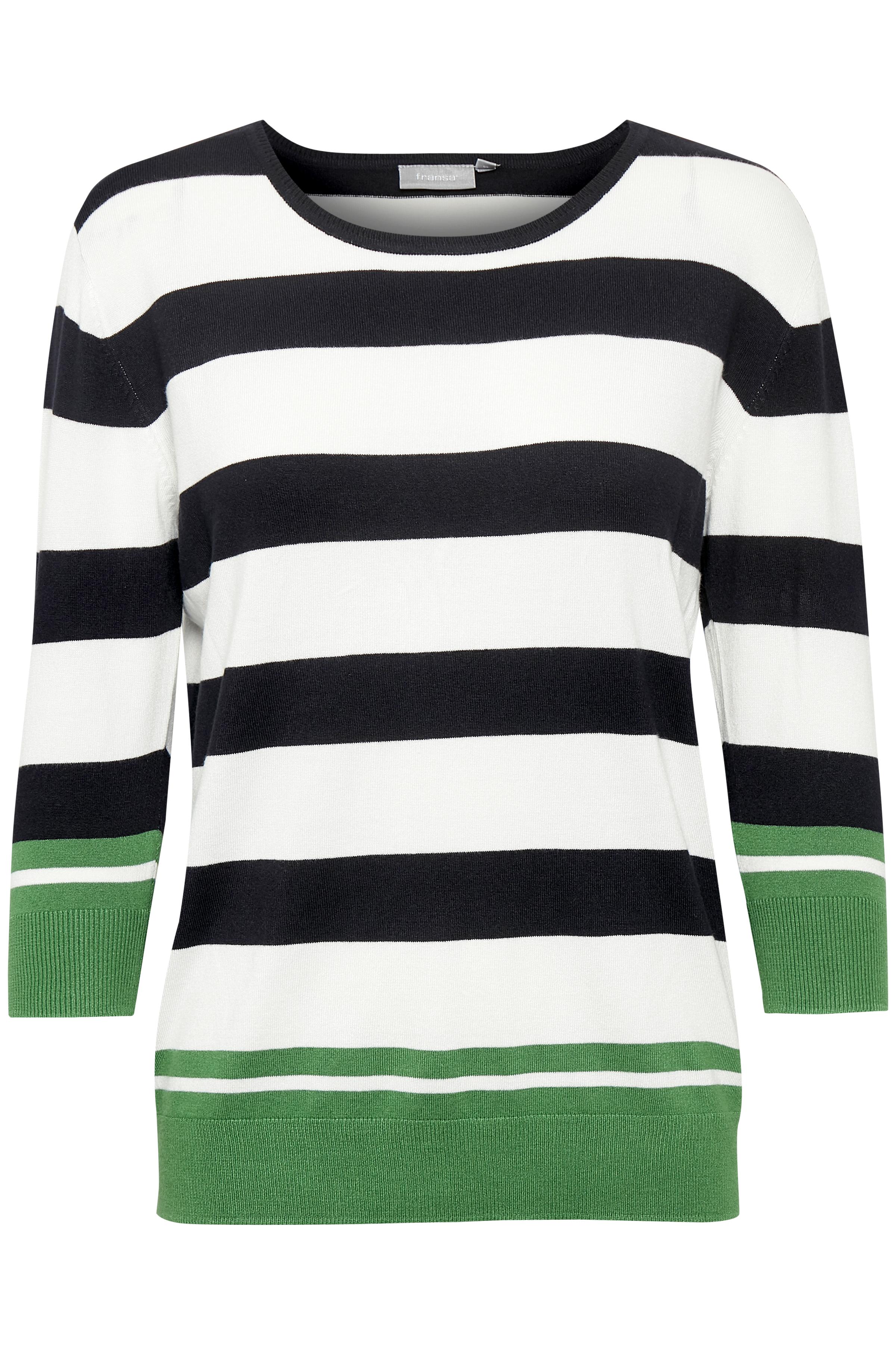Hvid/grøn Strikbluse fra Fransa – Køb Hvid/grøn Strikbluse fra str. XS-XXL her