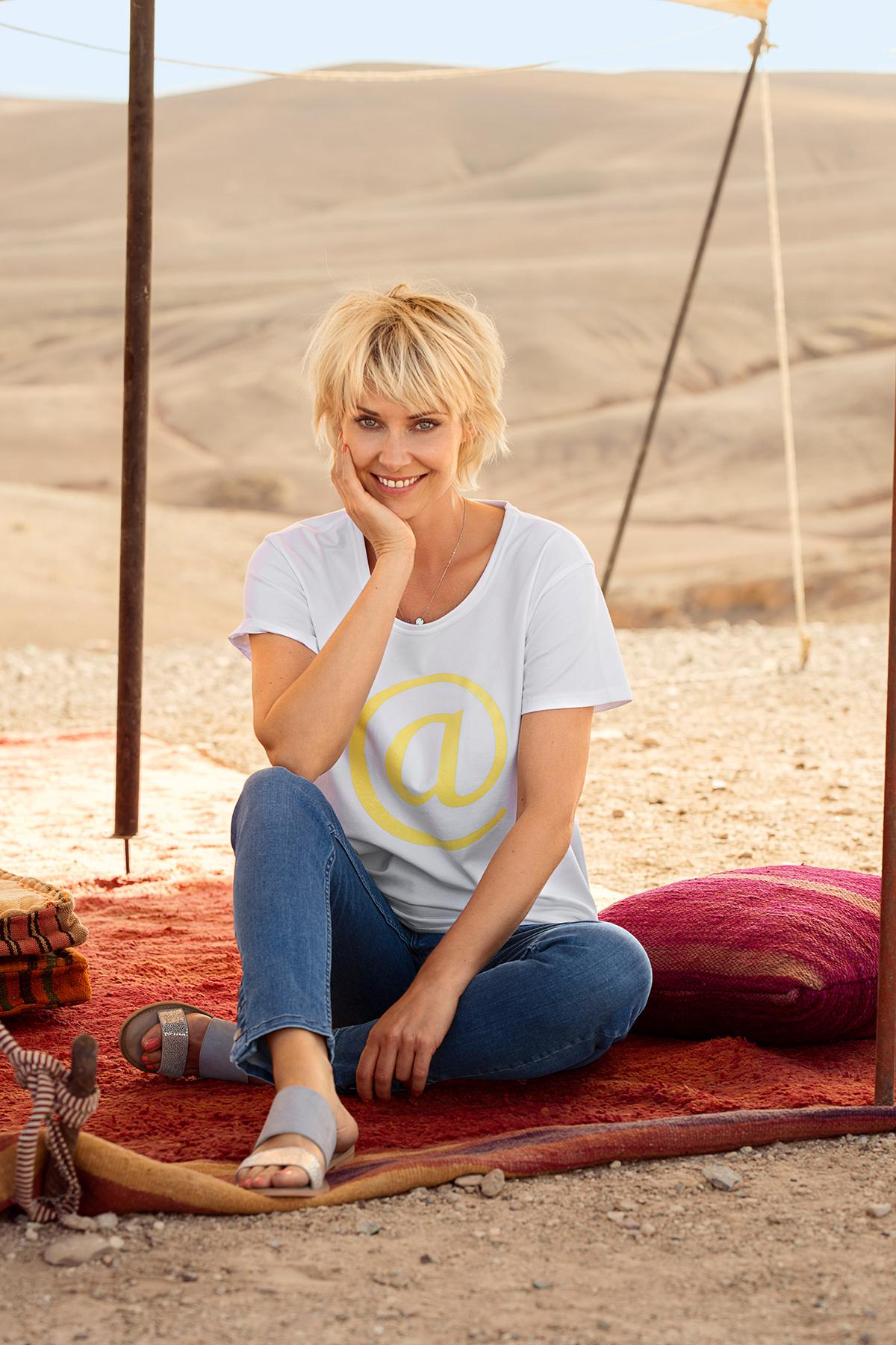 Hvid/gul Kortærmet T-shirt fra Dranella – Køb Hvid/gul Kortærmet T-shirt fra str. XS-XXL her