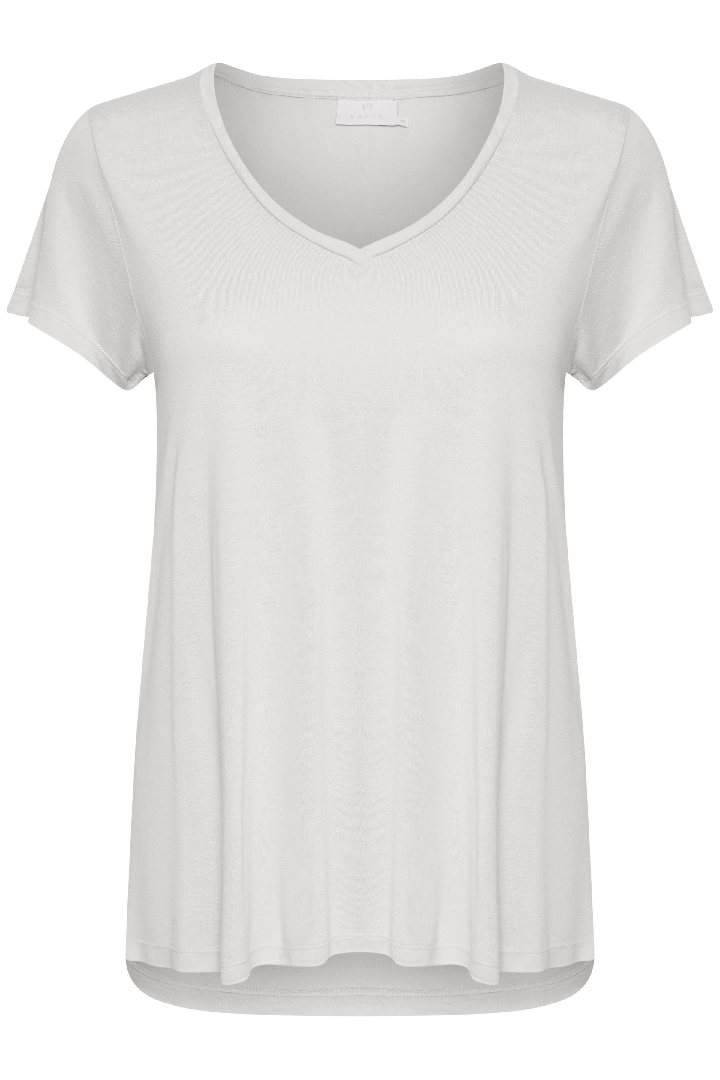 Kaffe Dame Meget skøn Anna T-shirt med V-hals og løs pasform  - Hvid