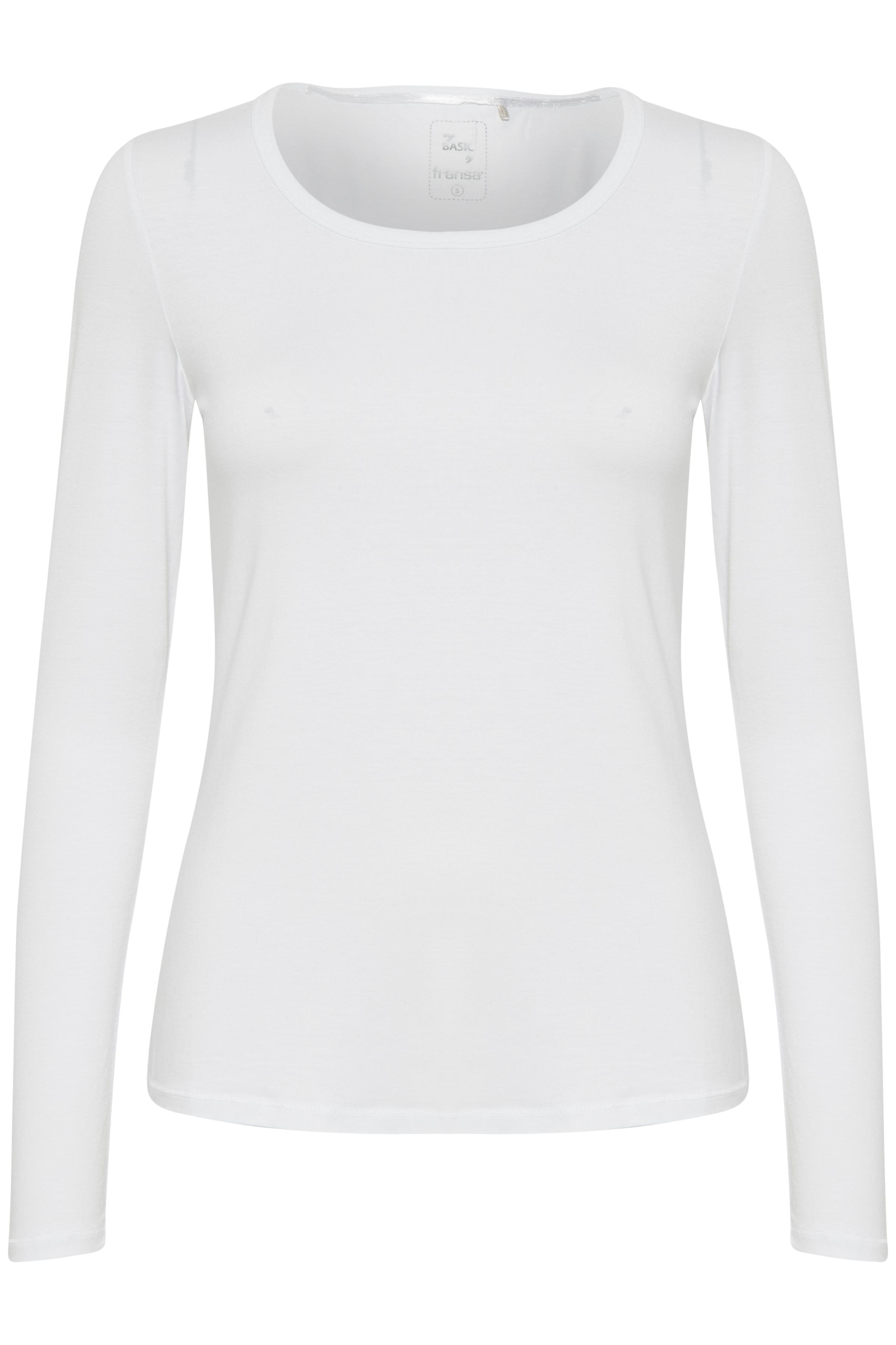 Hvid Langærmet T-shirt fra Fransa – Køb Hvid Langærmet T-shirt fra str. XS-XXL her