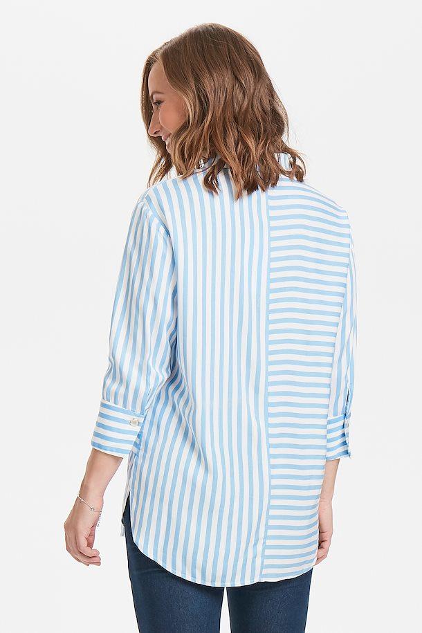 43317d26a250 Hvid lyseblå Langærmet skjorte fra Fransa – Køb Hvid lyseblå Langærmet  skjorte fra str. XS-XXL her