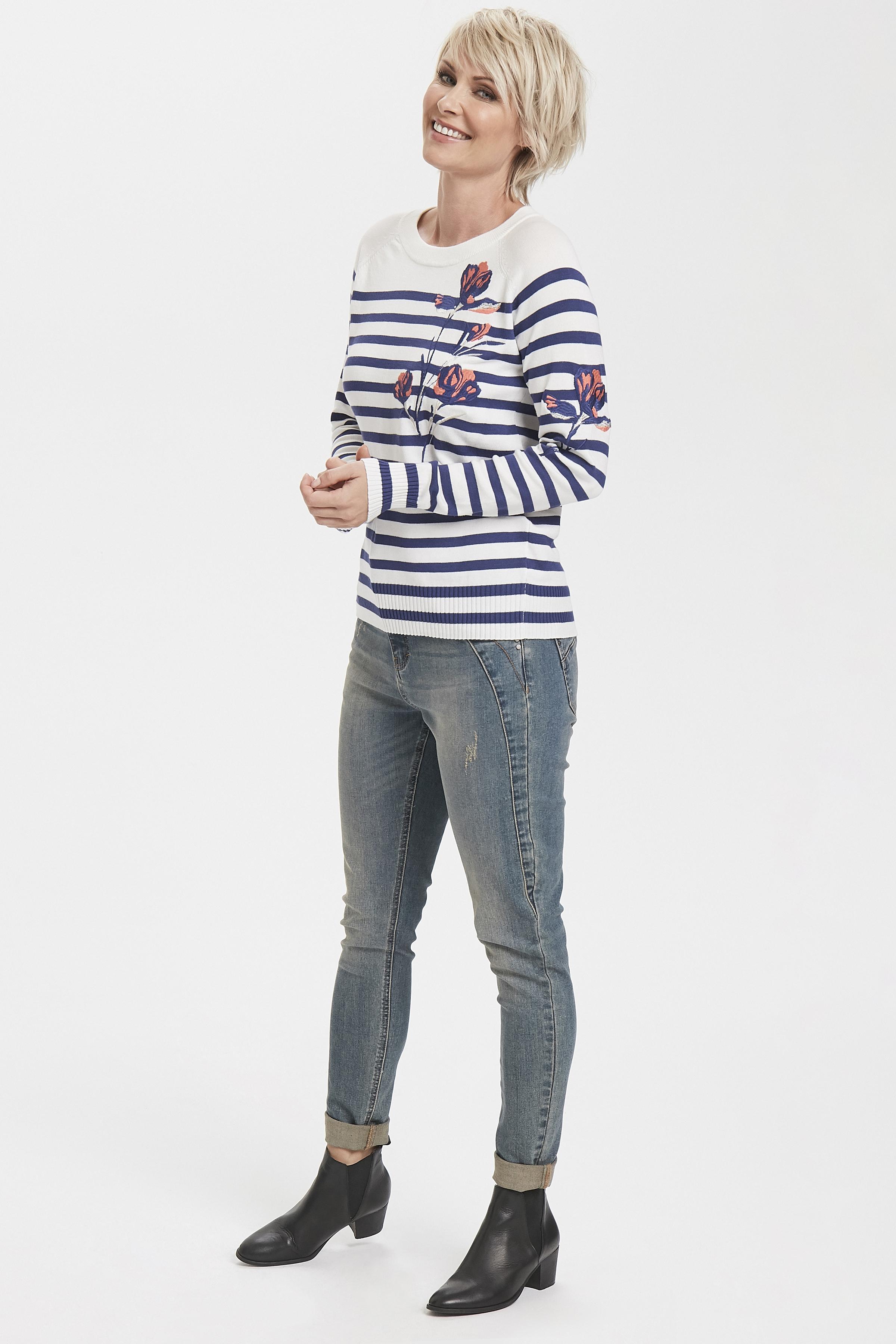 Hvid/mørkeblå Strikpullover fra Pulz Jeans – Køb Hvid/mørkeblå Strikpullover fra str. XS-XXL her