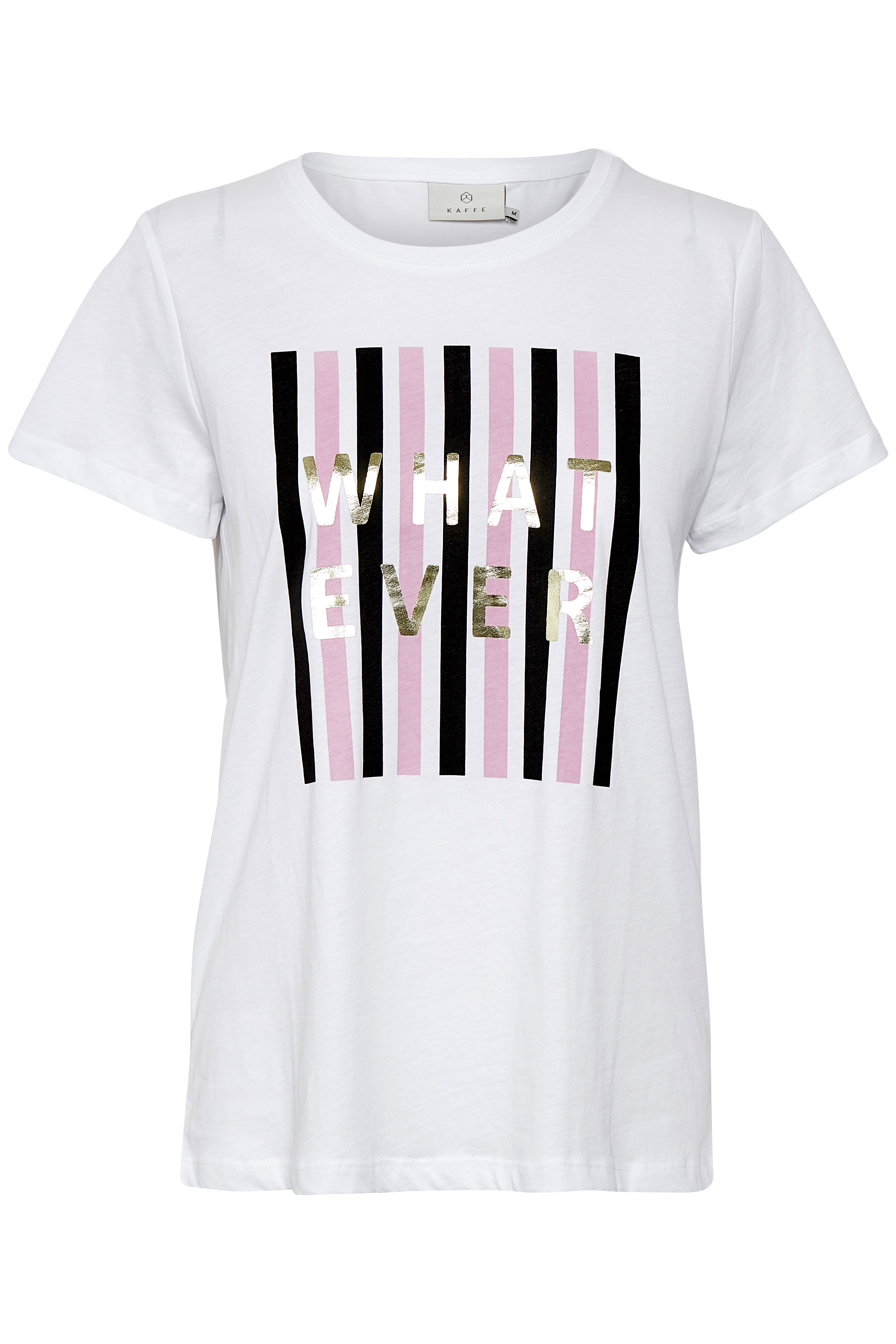 Kaffe Dame T-shirt  - Hvid/pink