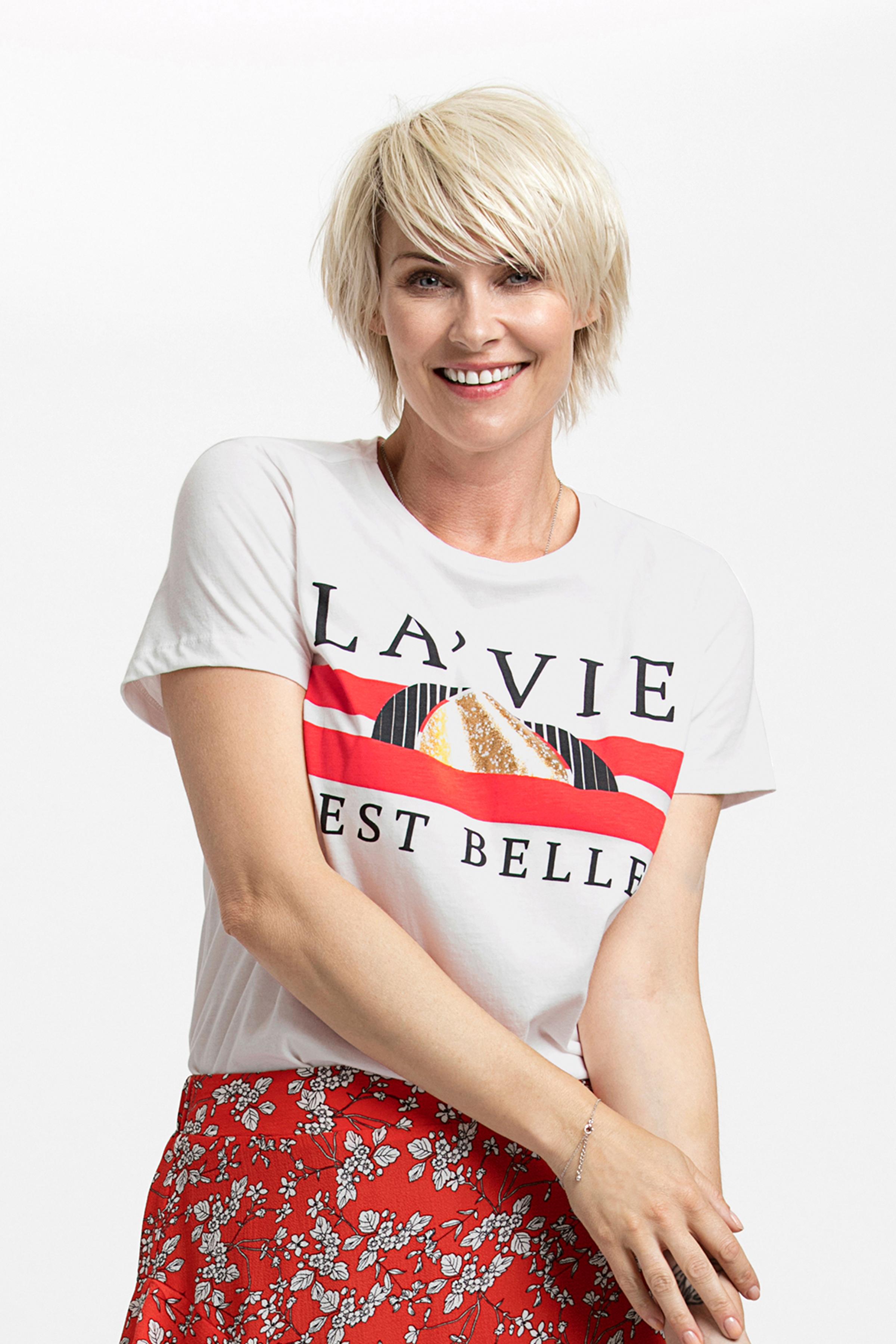 Hvid/rød Kortærmet T-shirt fra Fransa – Køb Hvid/rød Kortærmet T-shirt fra str. L-XXL her