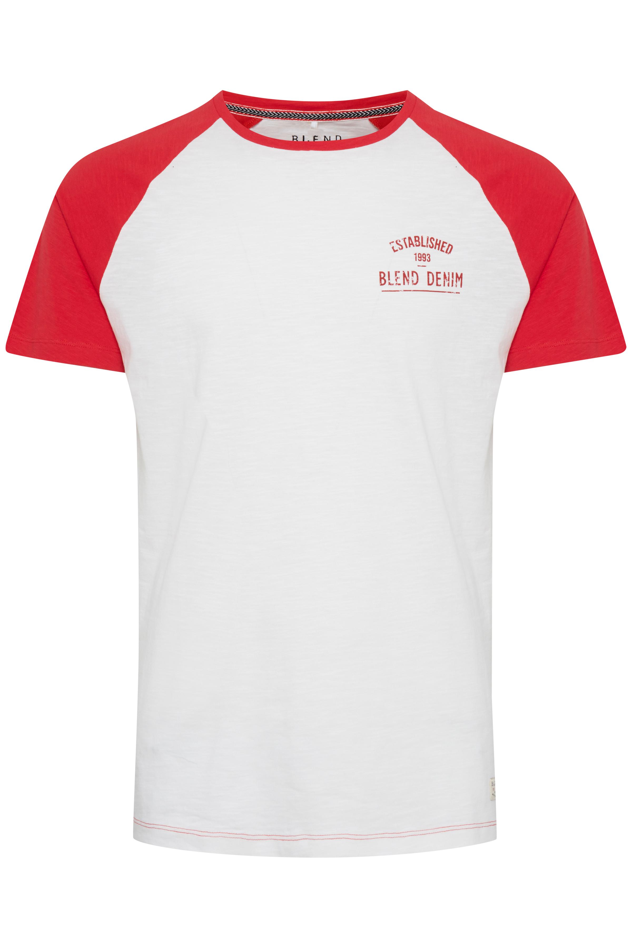 Image of Blend He Herre Kortærmet T-shirt - Hvid/rød