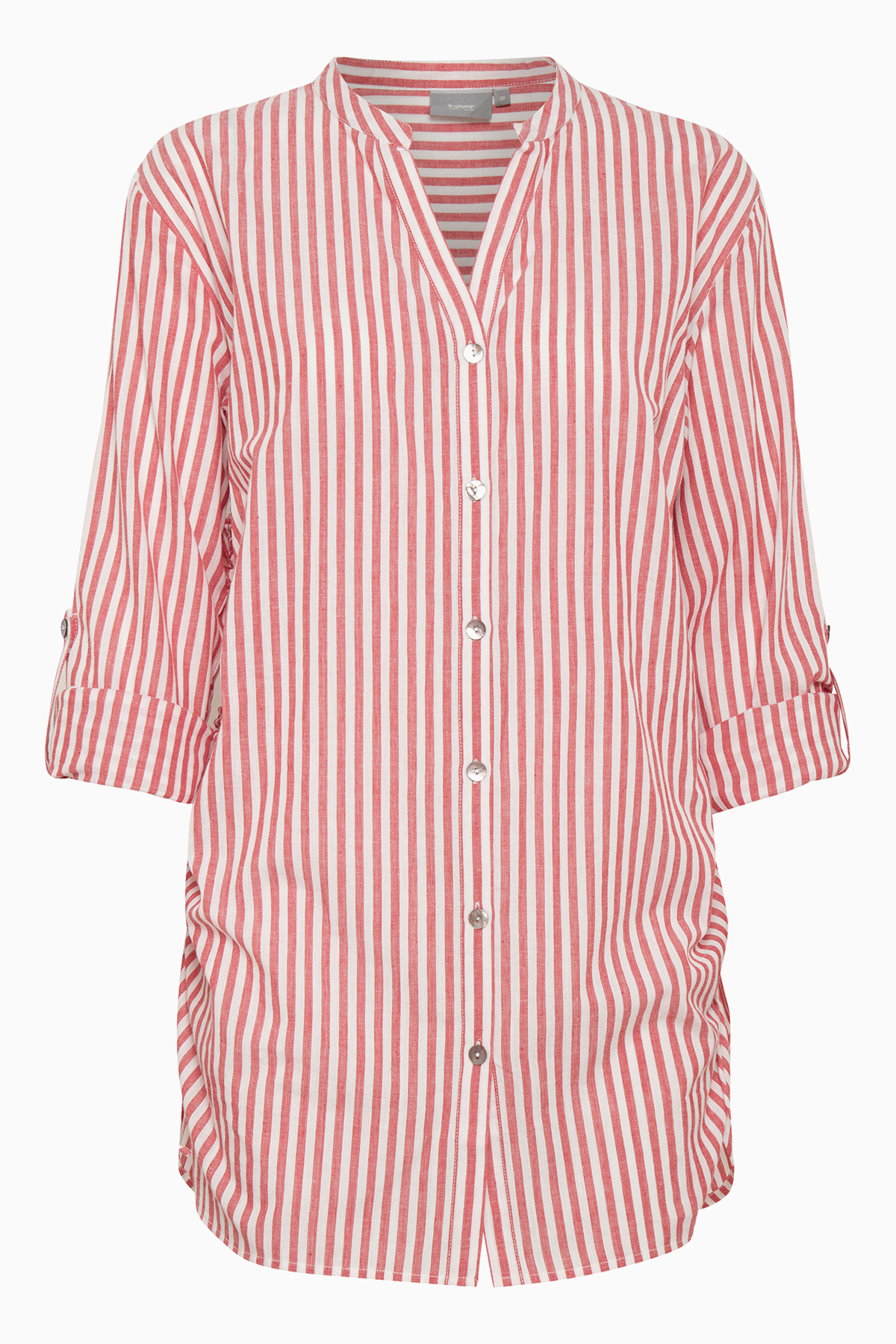 Image of   b.young Dame Blød og behagelig 100% bomuldsskjorte - Hvid/rød