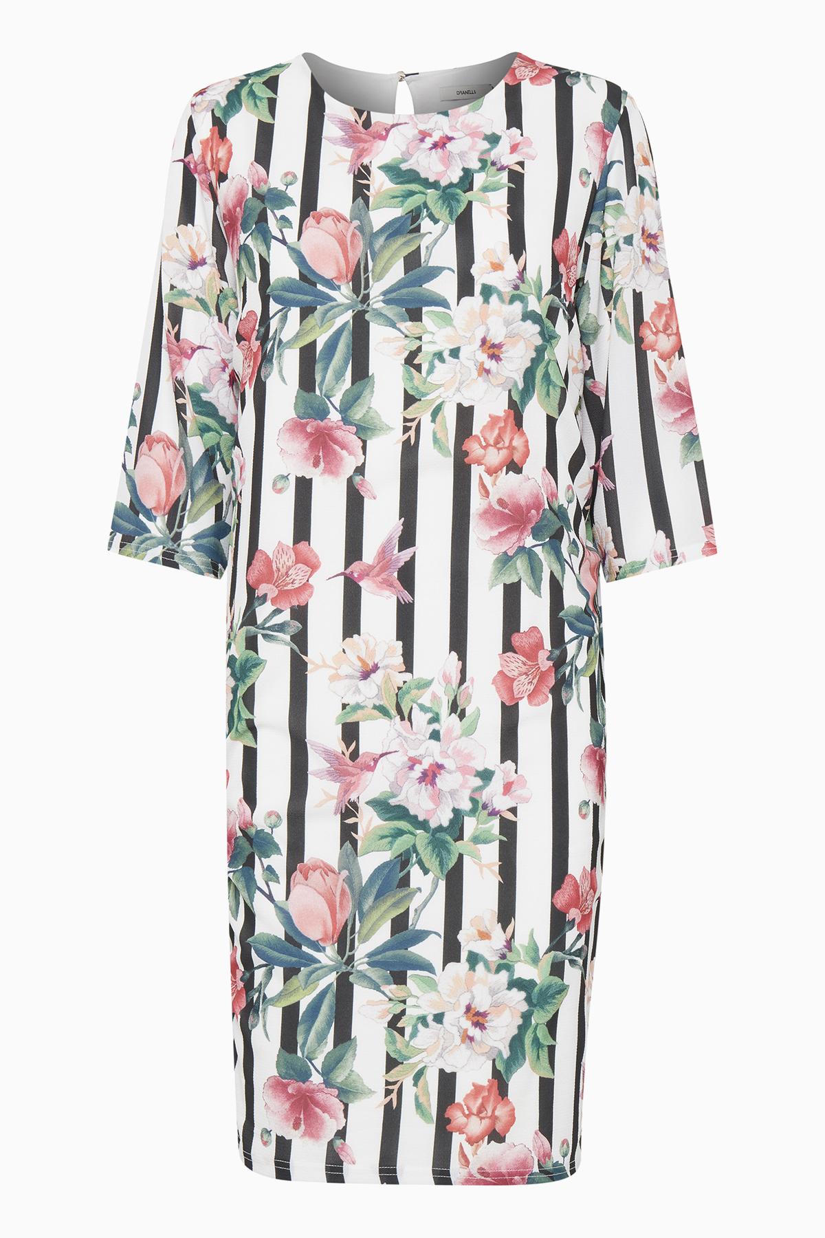 Dranella Dame 3/4 ærmet kjole - Hvid/rosa