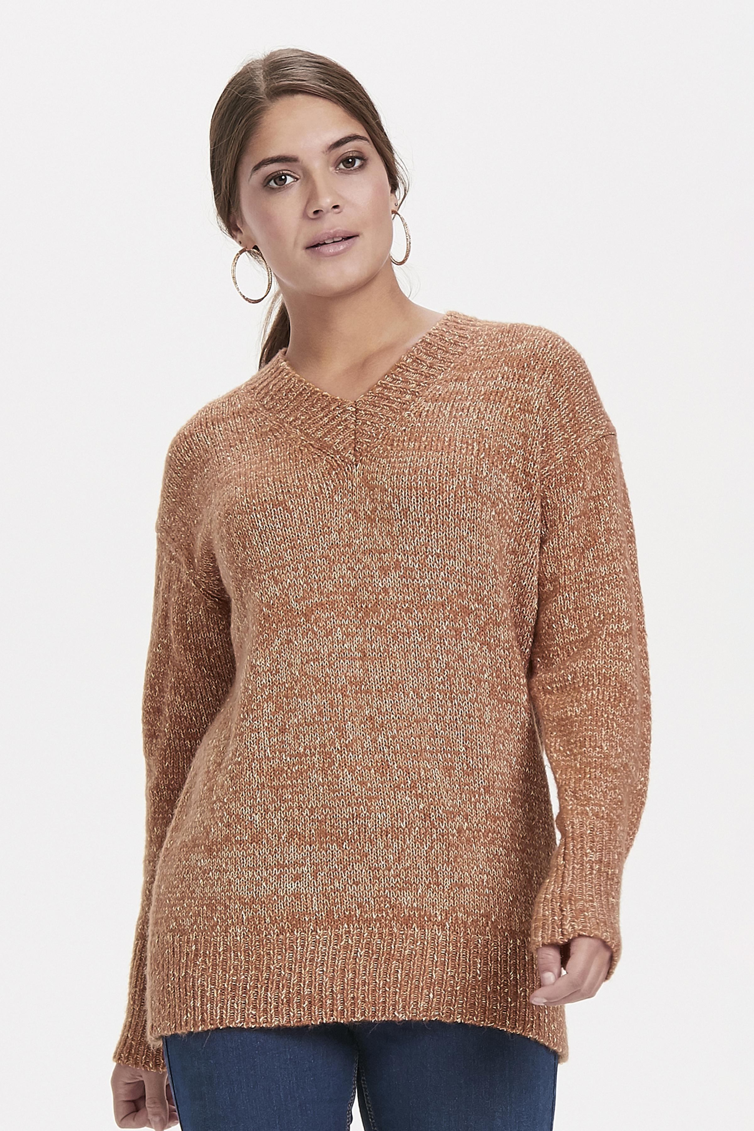 Kamel melerad Stickad pullover från Bon'A Parte – Köp Kamel melerad Stickad pullover från stl. S-2XL här