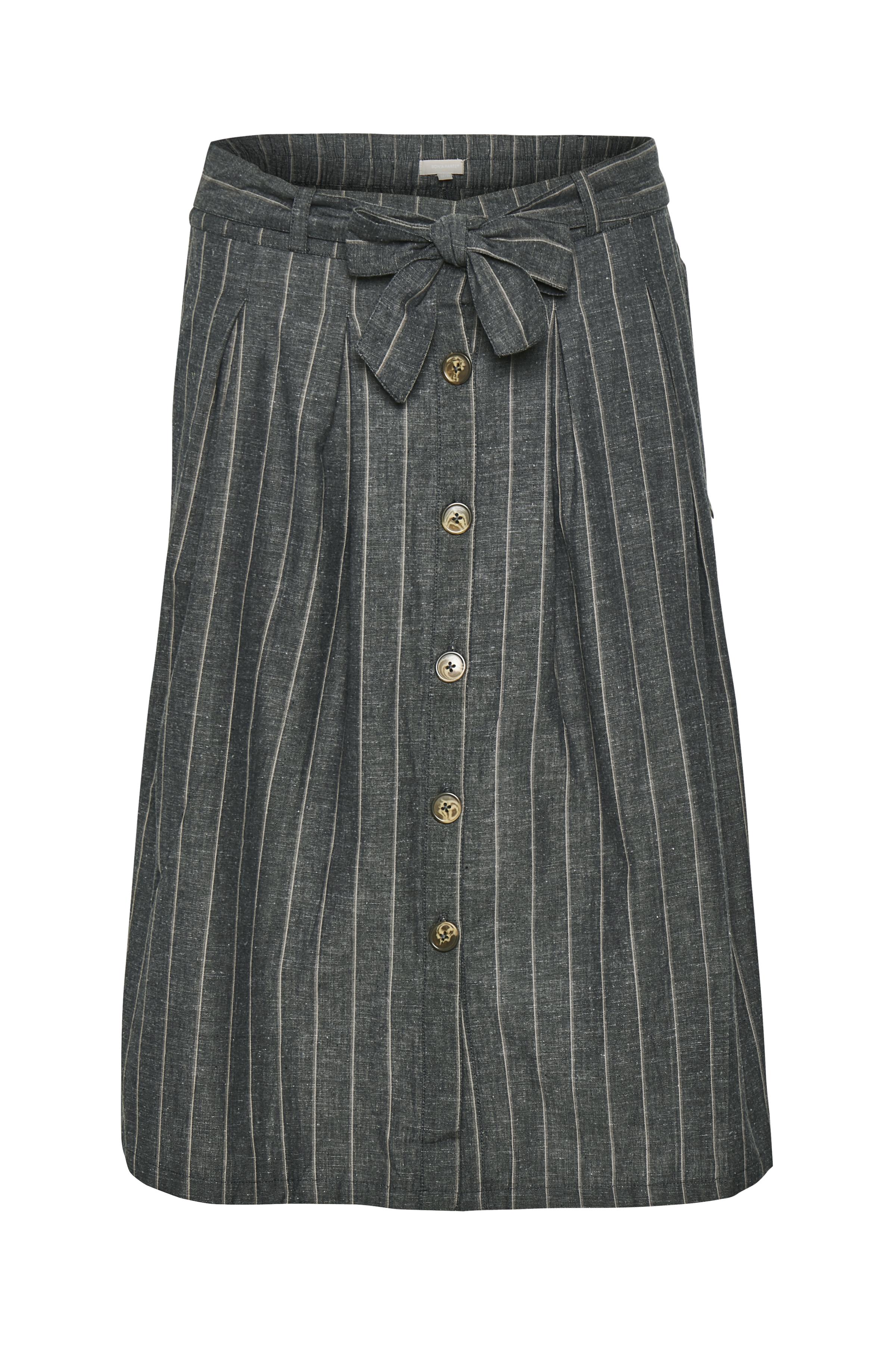 Bon'A Parte Dame BON'A PARTE nederdel med fast linning foran - elastik bagtil. Bæltestropper samt aftageligt bindebånd i taljen. Nederdelen  - Koksgrå/grå